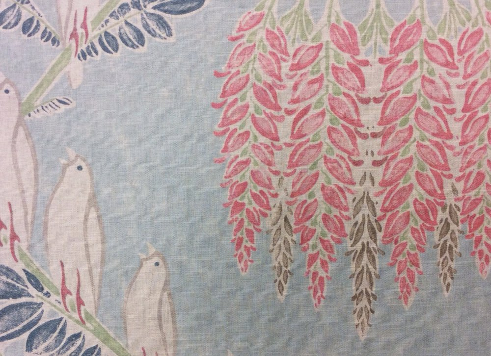 White Birds Singing Perched Pink Flowers Light Mist Blue Home Dec Fabric HL102