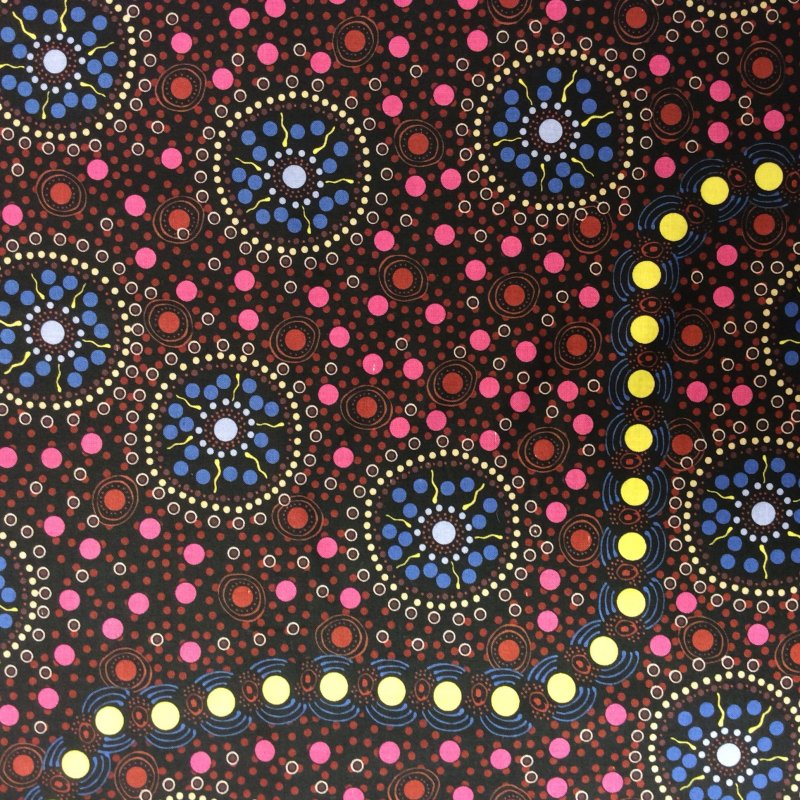 Aborigine Australian AU16 Dreamtime Flowers Letisha Doolan Cotton Quilt Fabric