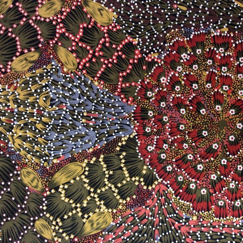 Australian Aborigine Bush Banana Paint Strokes Quilt Fabric AU15