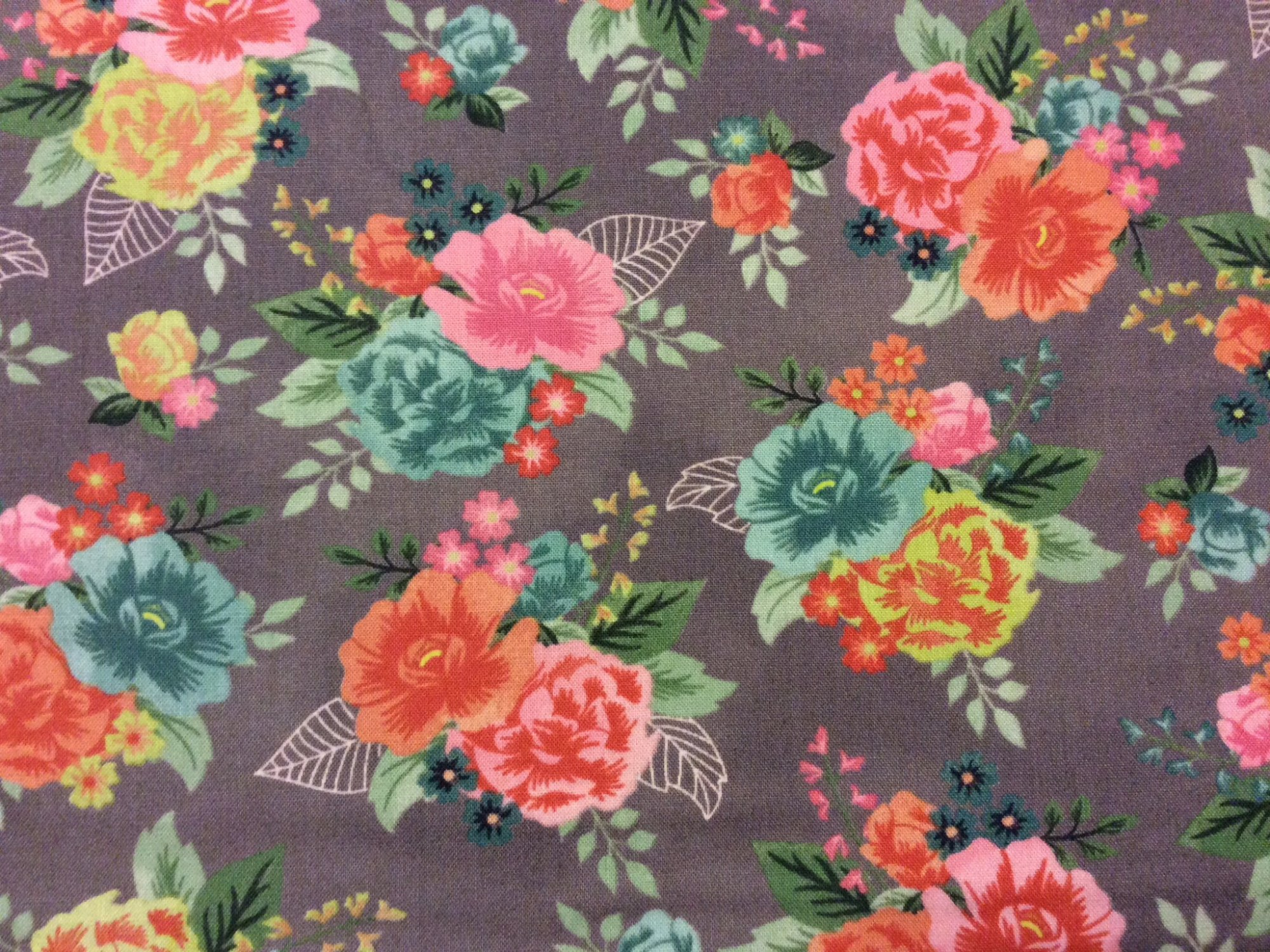 English Garden BasicGrey Fresh Cut Bouquet English Country Garden Floral Cotton Quilting Fabric Moda MO18