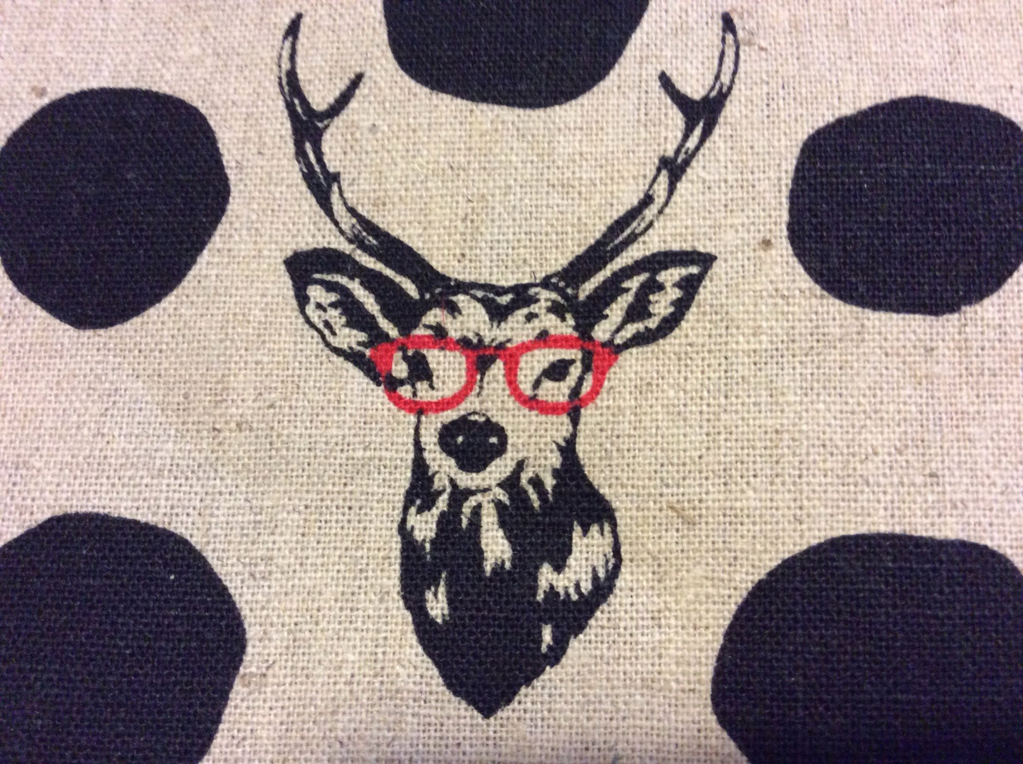 SI08 Echino Kokka Deer Antler Glasses Zany Japan Asia Cotton Fabric Quilt Fabric