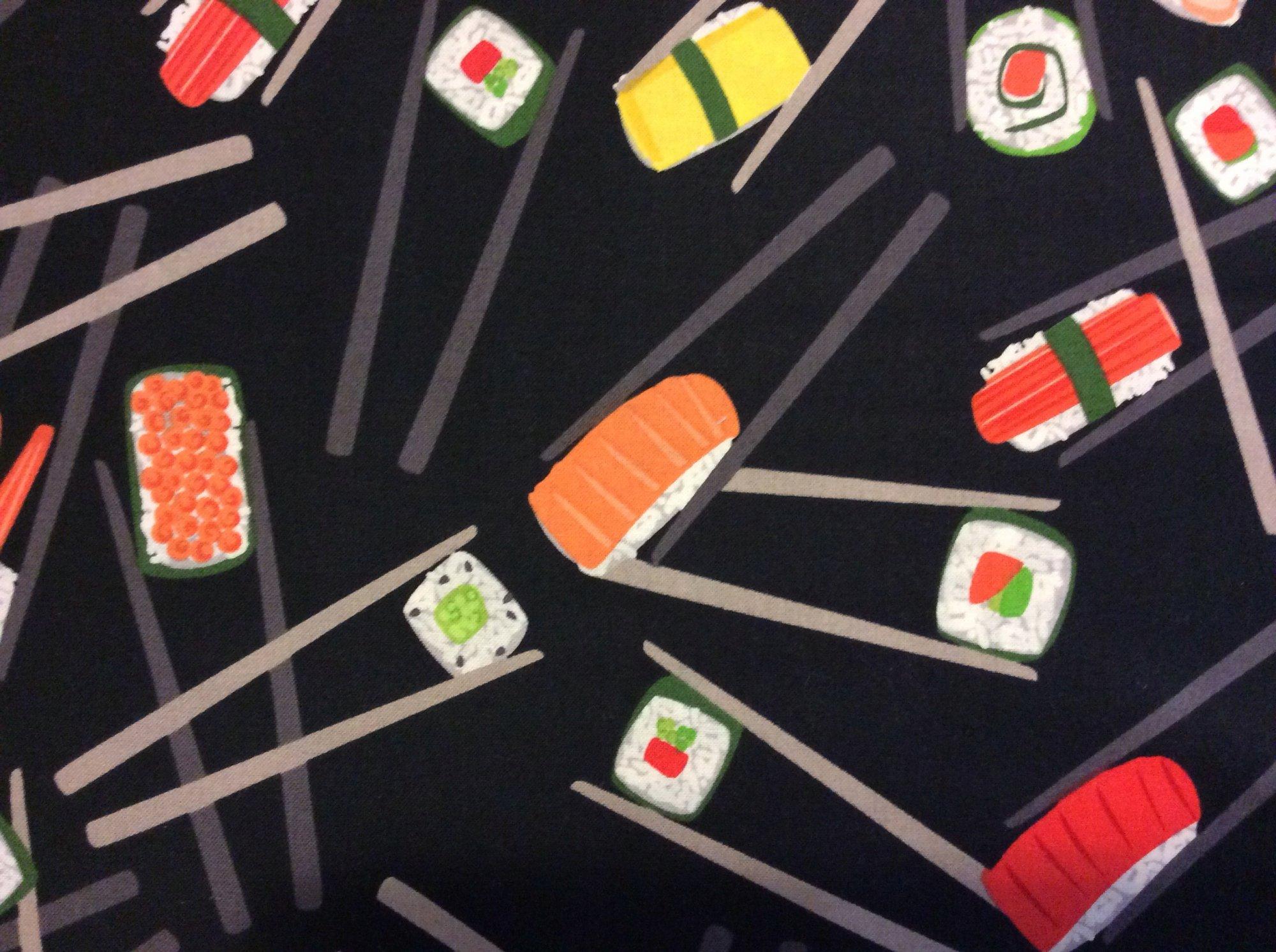 RK107 Sushi Chopsticks Japan Asia Sashimi Seafood Shrimp Cotton Quilting Fabric