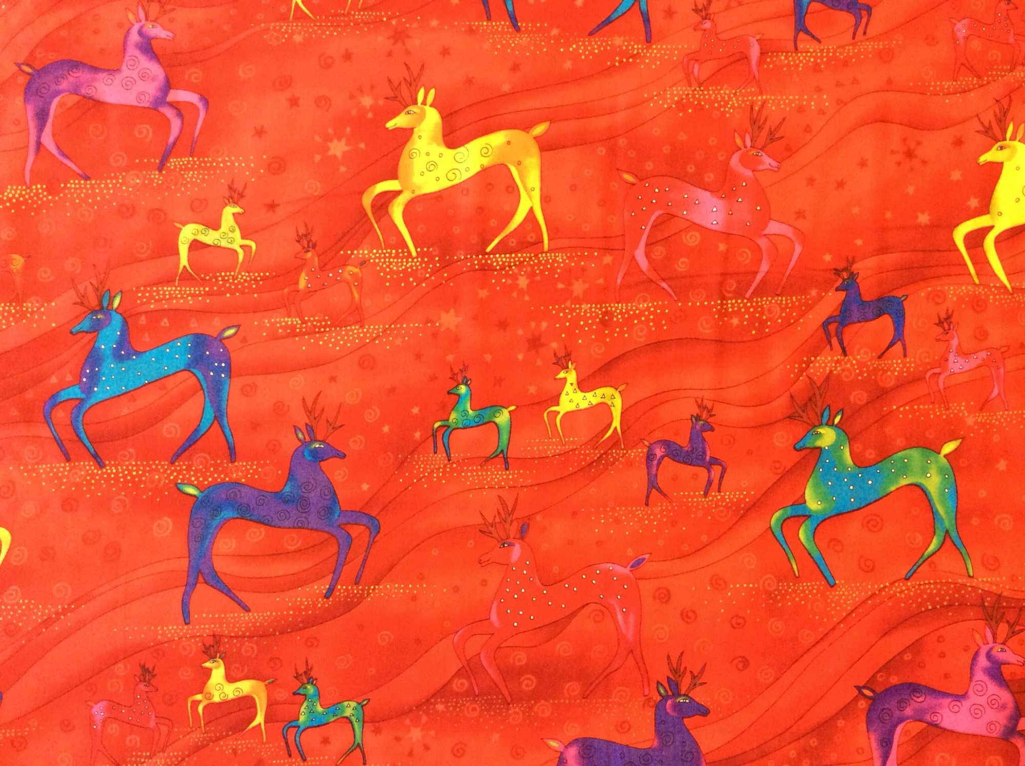 Last Piece! Laurel Burch Holiday Celebrations Reindeer Christmas Quilt Fabric Cotton Fabric  PCACO20