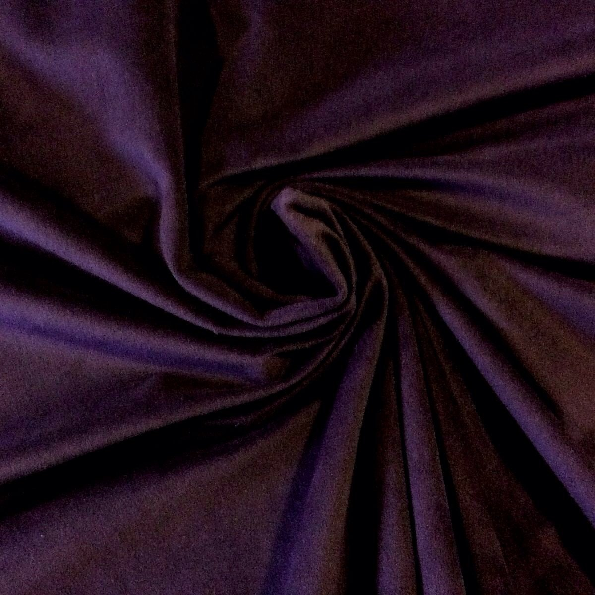 Royal Purple Aubergine Velvet Very Soft Weight Cotton Fabric Drapery