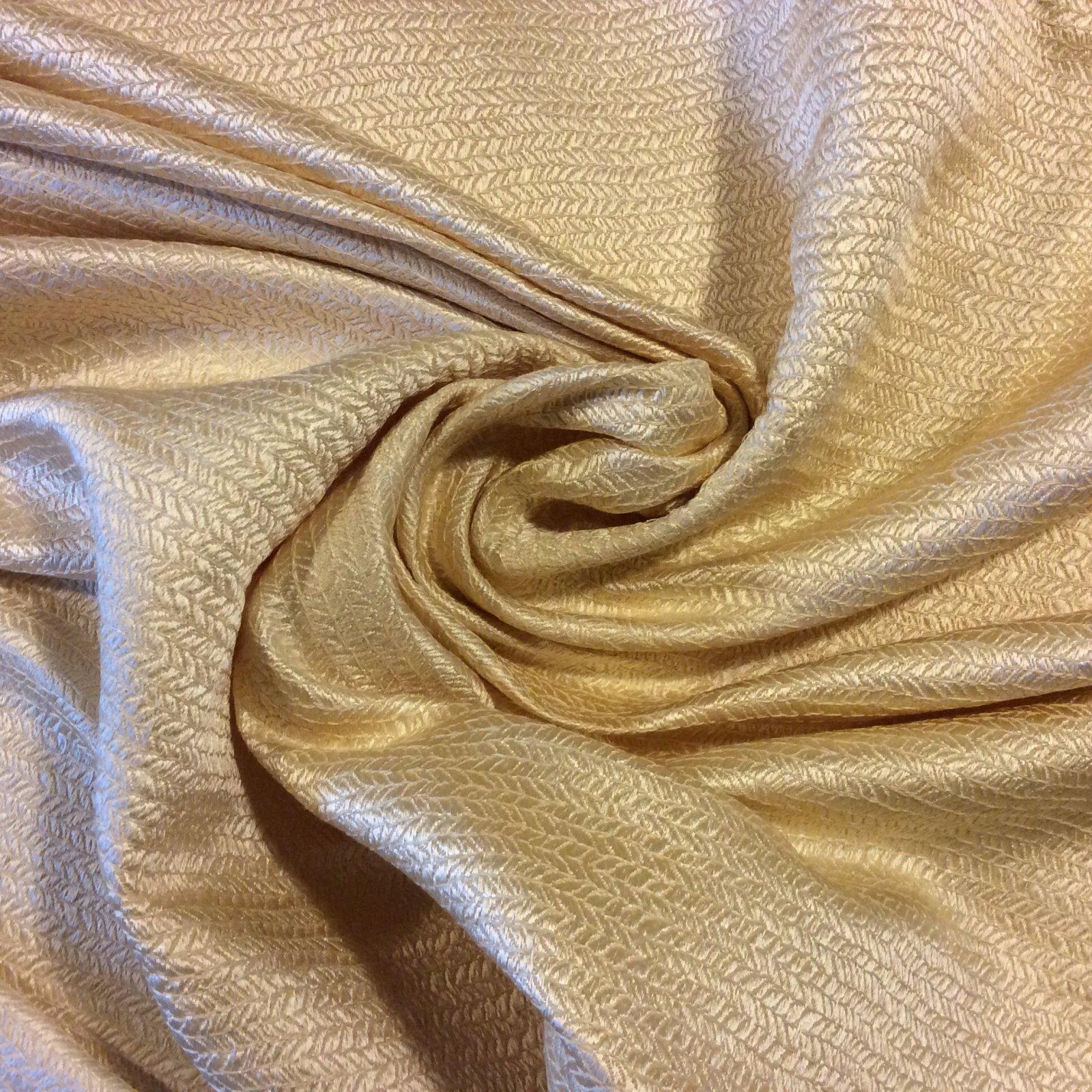 WB155 Stroheim & Romann Heavy Silk Puckered Texture Jacquard Thick Silk Light Tan Upholstery Fabric Drapery Fabric