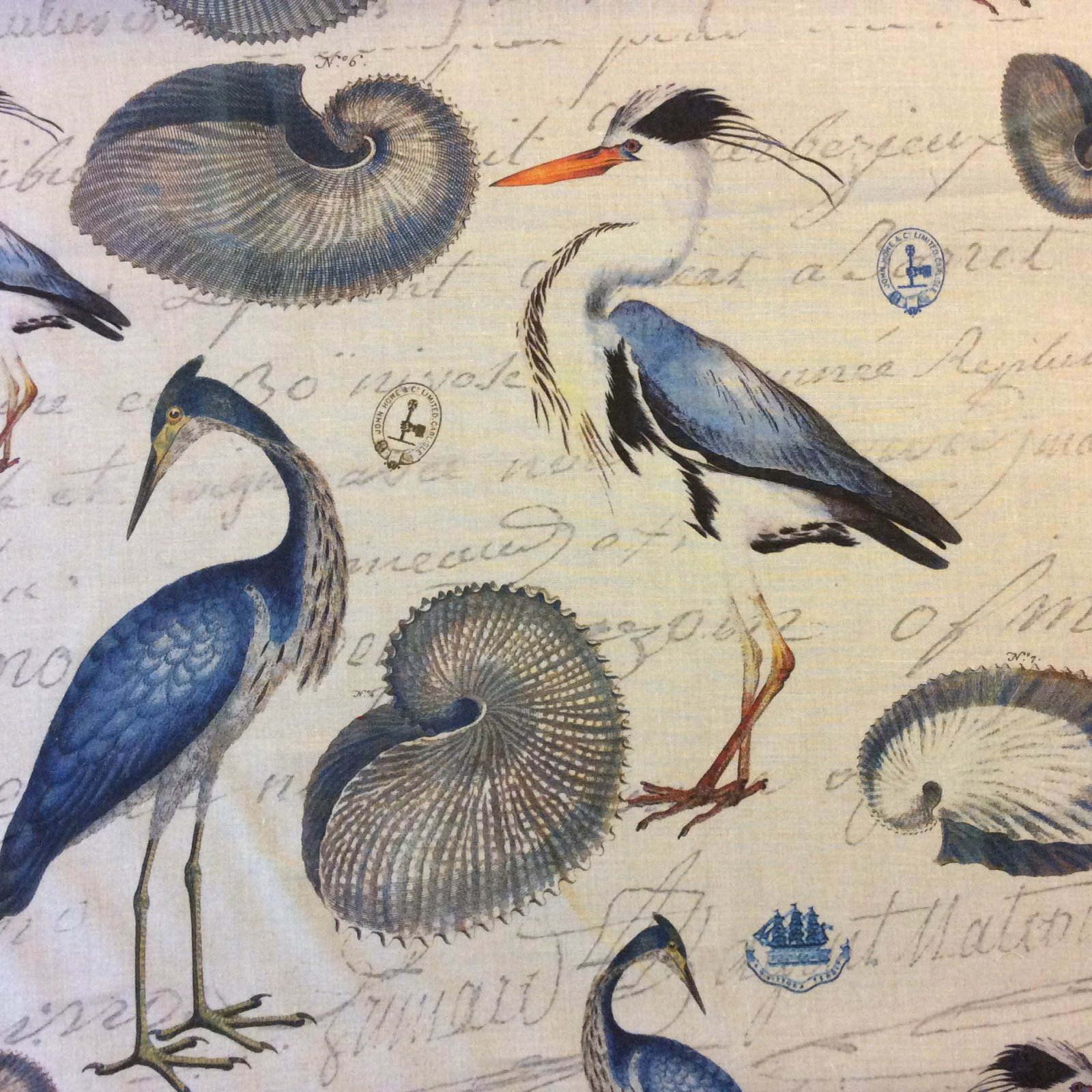 DLSO109 Illustrated Heron Drapery Linen Fabric Linen Weave Cotton Fabric Upholstery Drapery Fabric