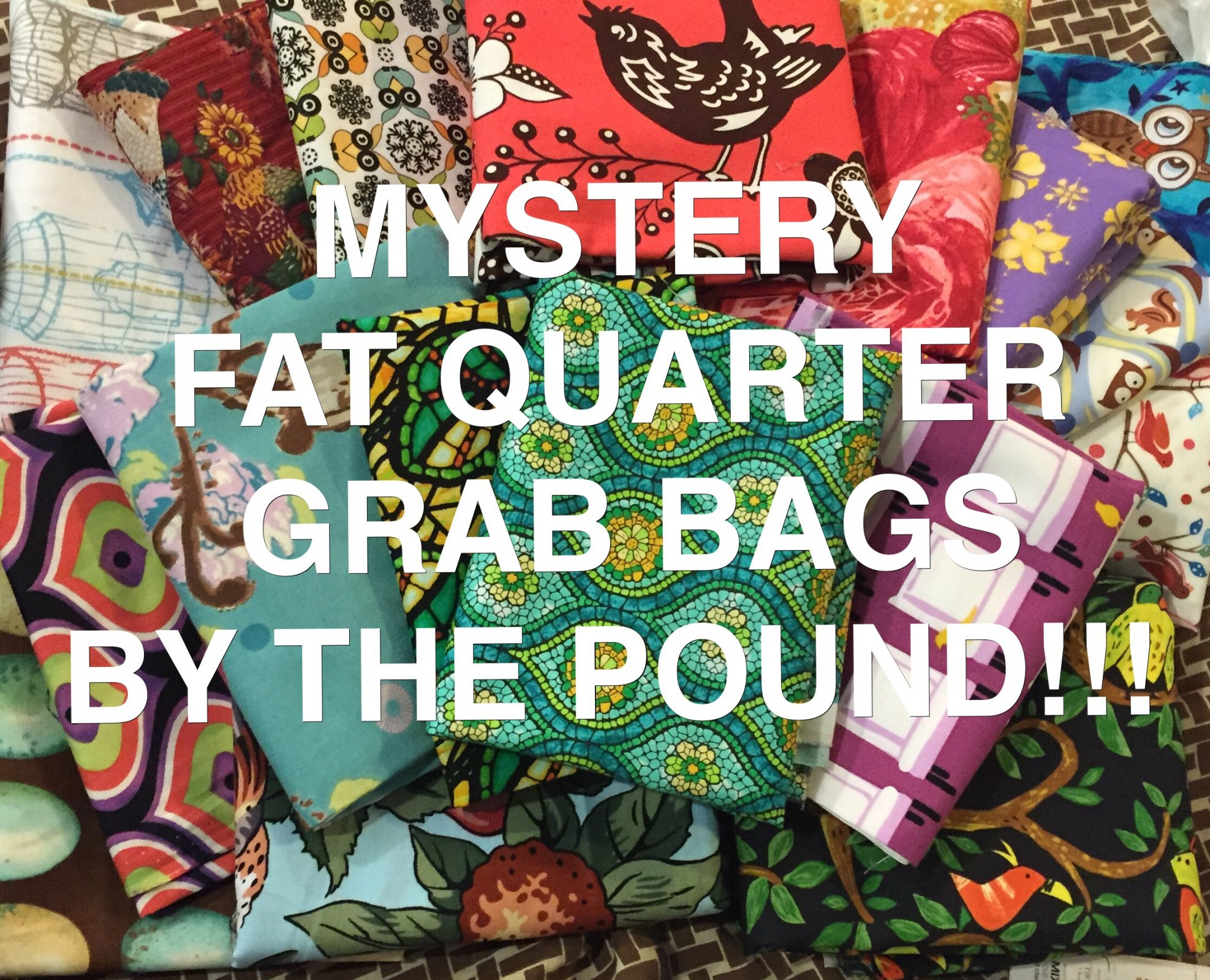 AMAZING DEAL!!! TWELVE (12)  FAT QUARTERS  GRAB BAG Approximately ONE POUND of Quilt Weight 100% Cotton  Fabric MYSTERY GRAB BAG