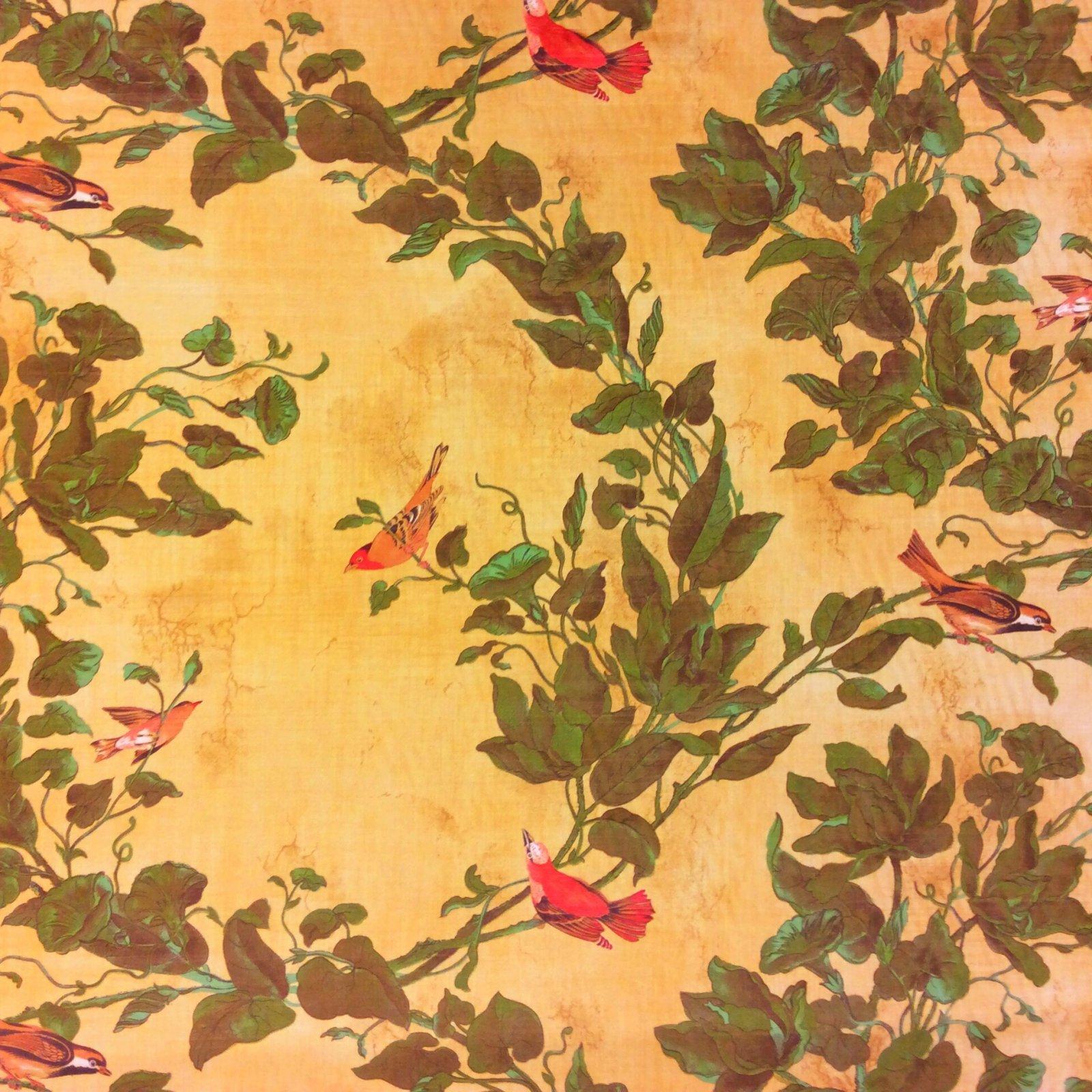 Windsong Cognac Watercolor Songbirds Beautiful Illustrated Bird Cotton Fabric Drapery Fabric HD607C