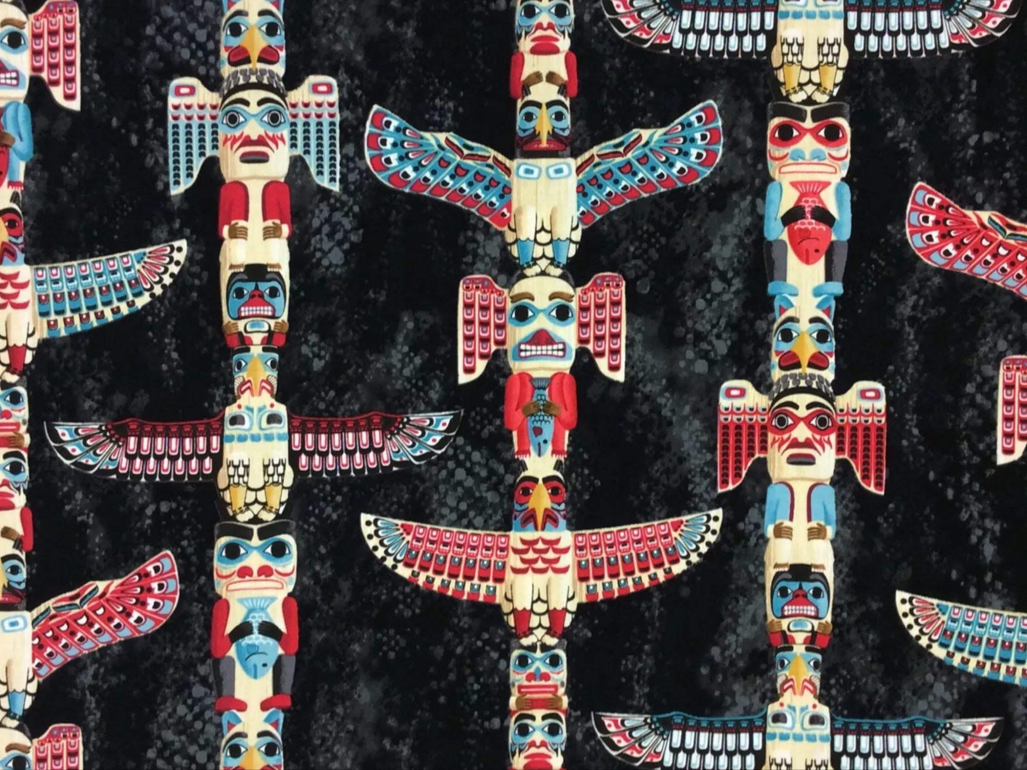 FT100 Totem Poles Native American Spirit Animal Eagle Fish  Cotton Quilt Fabric