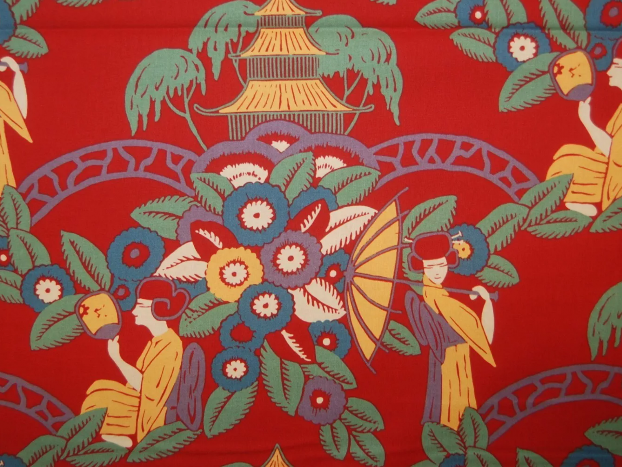AH107 Toile Asian Nakahara Garden Alexander Henry  Exotic Japanese Style Cotton Quilt Fabric