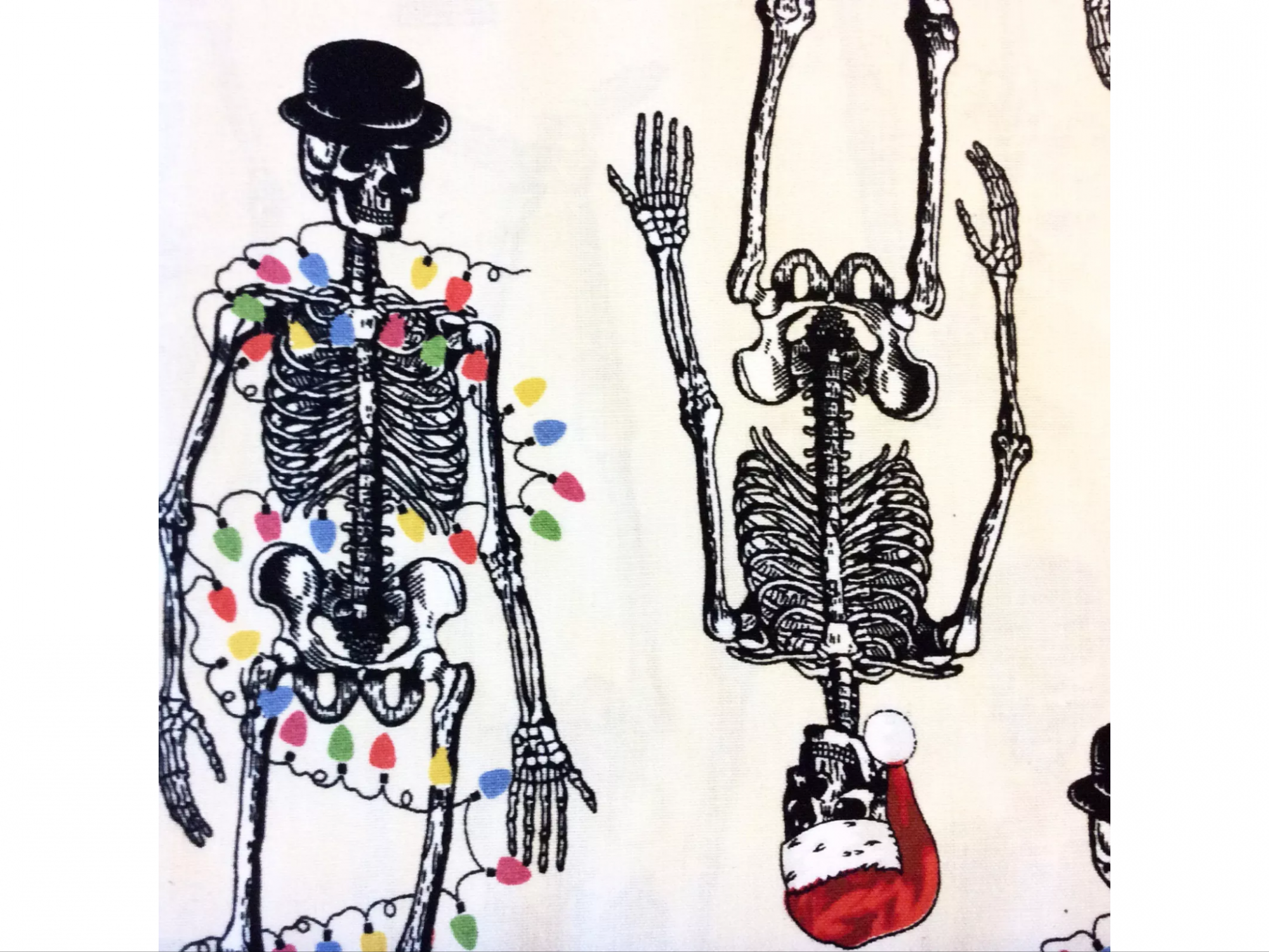 AN57 Christmas Skeleton Halloween Holiday Santa Bones Cotton Quilt Fabric