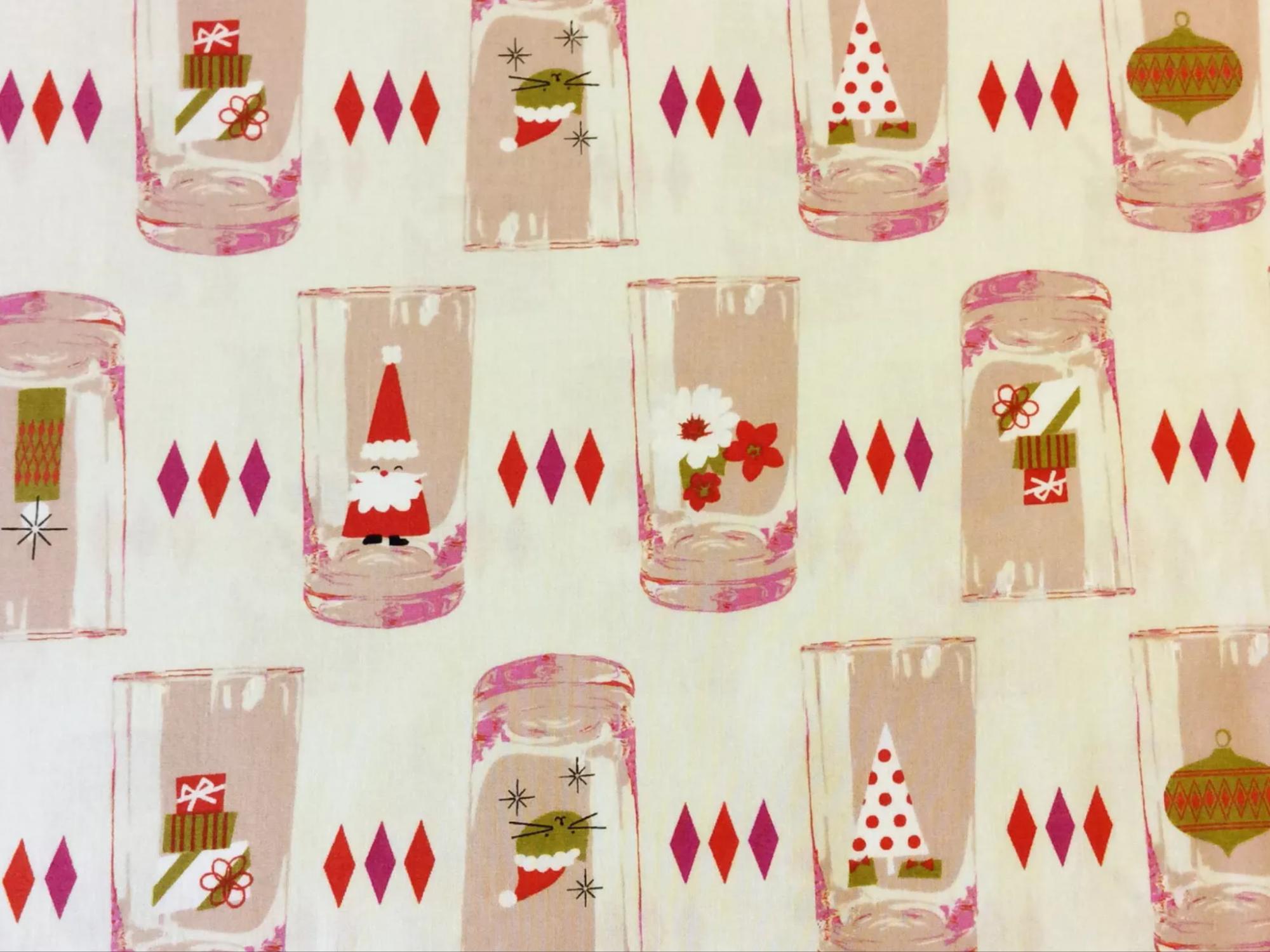 COTTON + STEEL Christmas Xmas Holiday Santa Glasses Retro Vintage Cotton Quilting Fabric CTN56