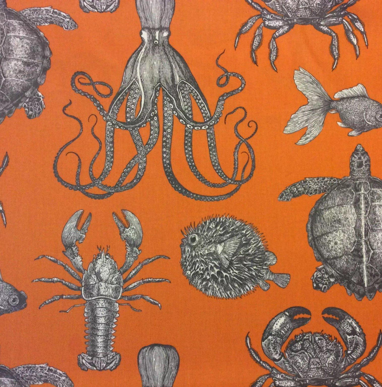 Thomas Paul Sea Life Adriatic Papaya Ocean Indoor Outdoor Acrylic Fabric SD104c
