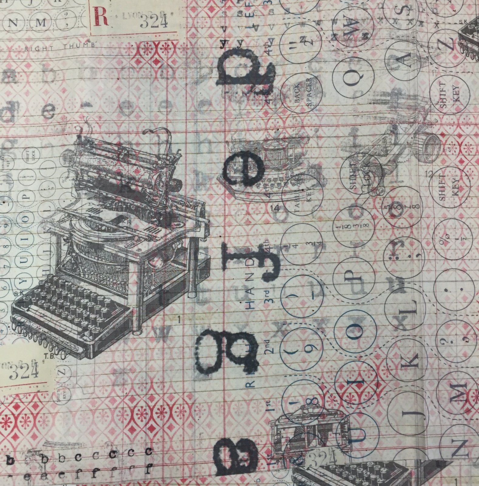 Retro Antique Typewriter Typing Letter Keys Machines Cotton Quilt Fabric CHE020