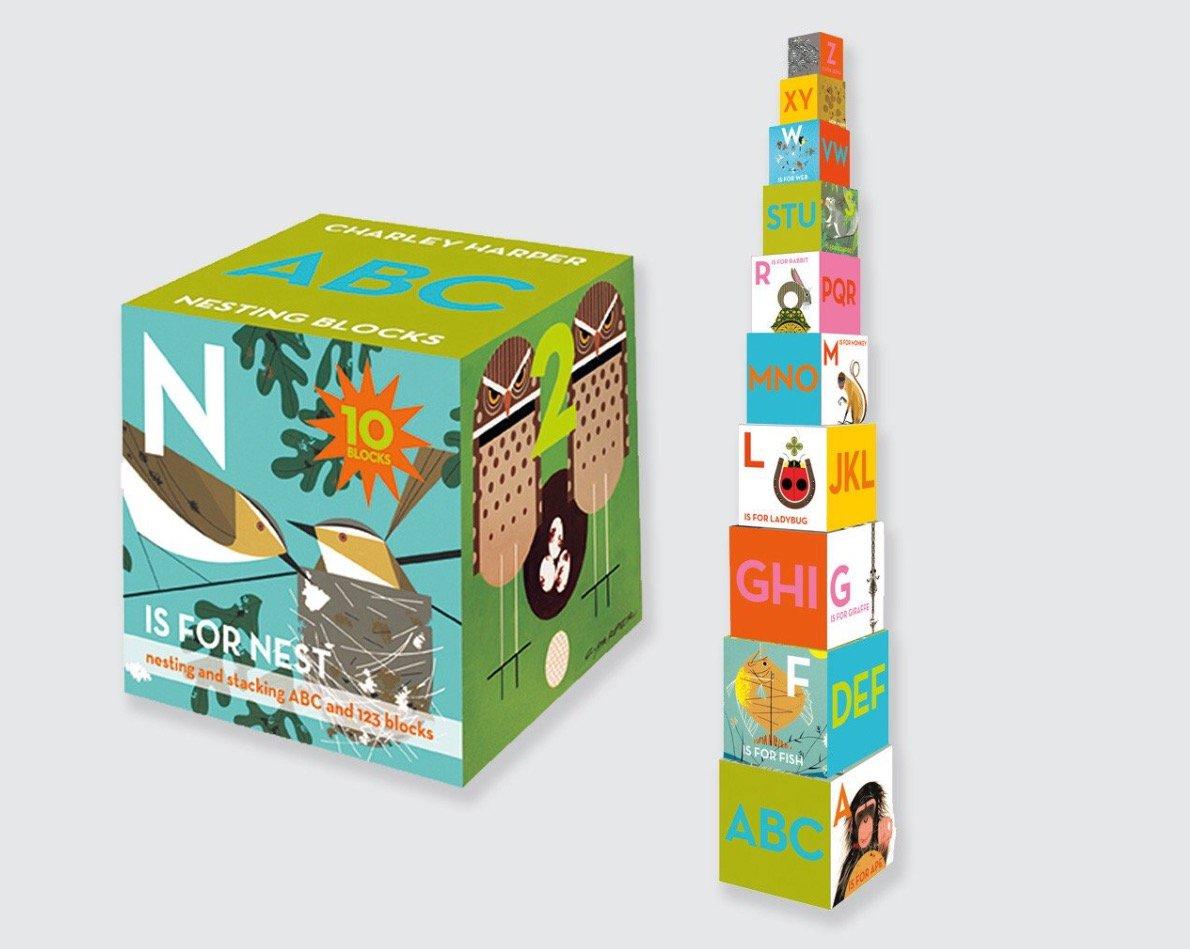 Charley Harper Nesting Block Set ABC/123 RARE  OUT OF PRINT Nesting Blocks