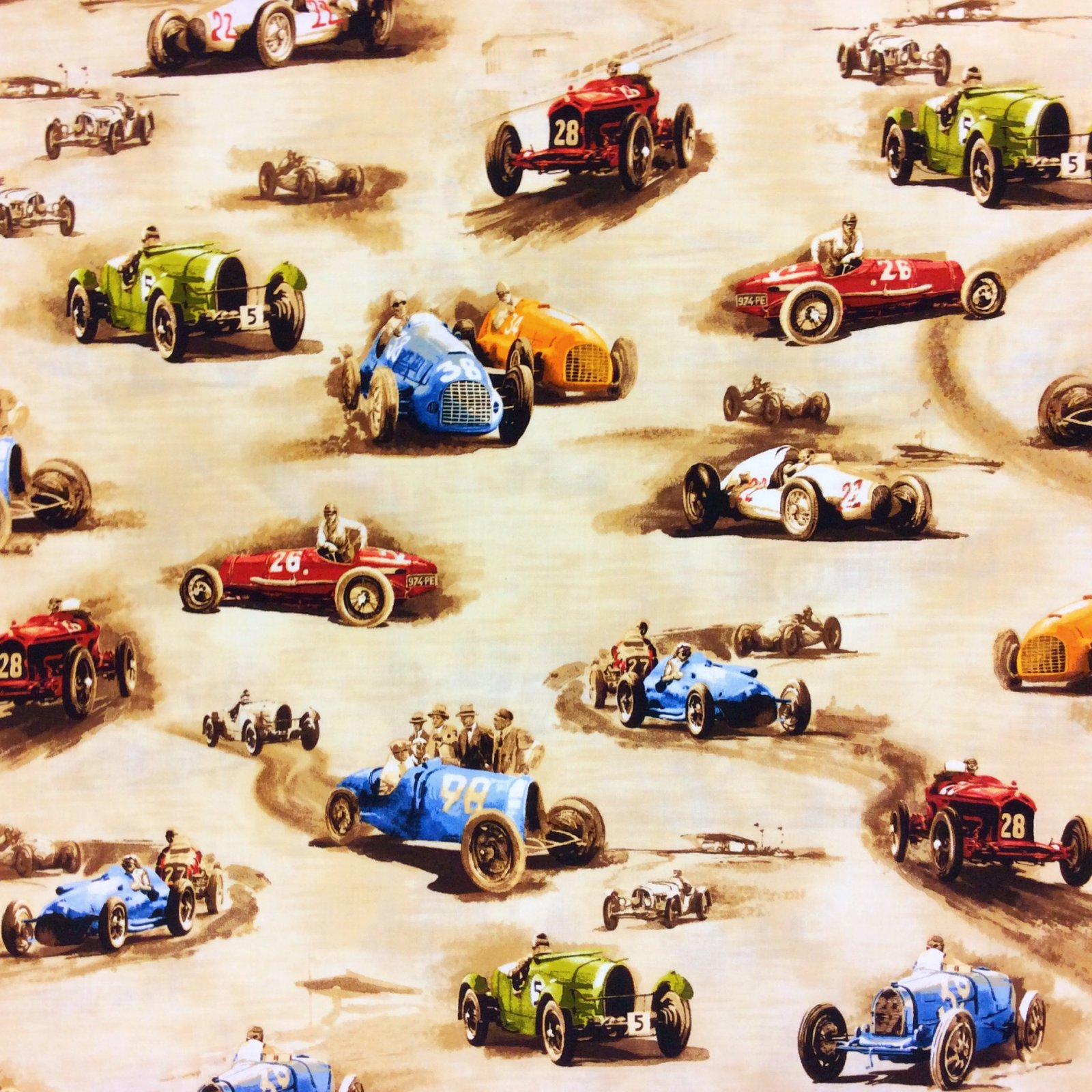 FAT QUARTER! Cars Antique Race Stock Cars Classic Derby Racetrack Cotton Quilt Fabric RPFMD306