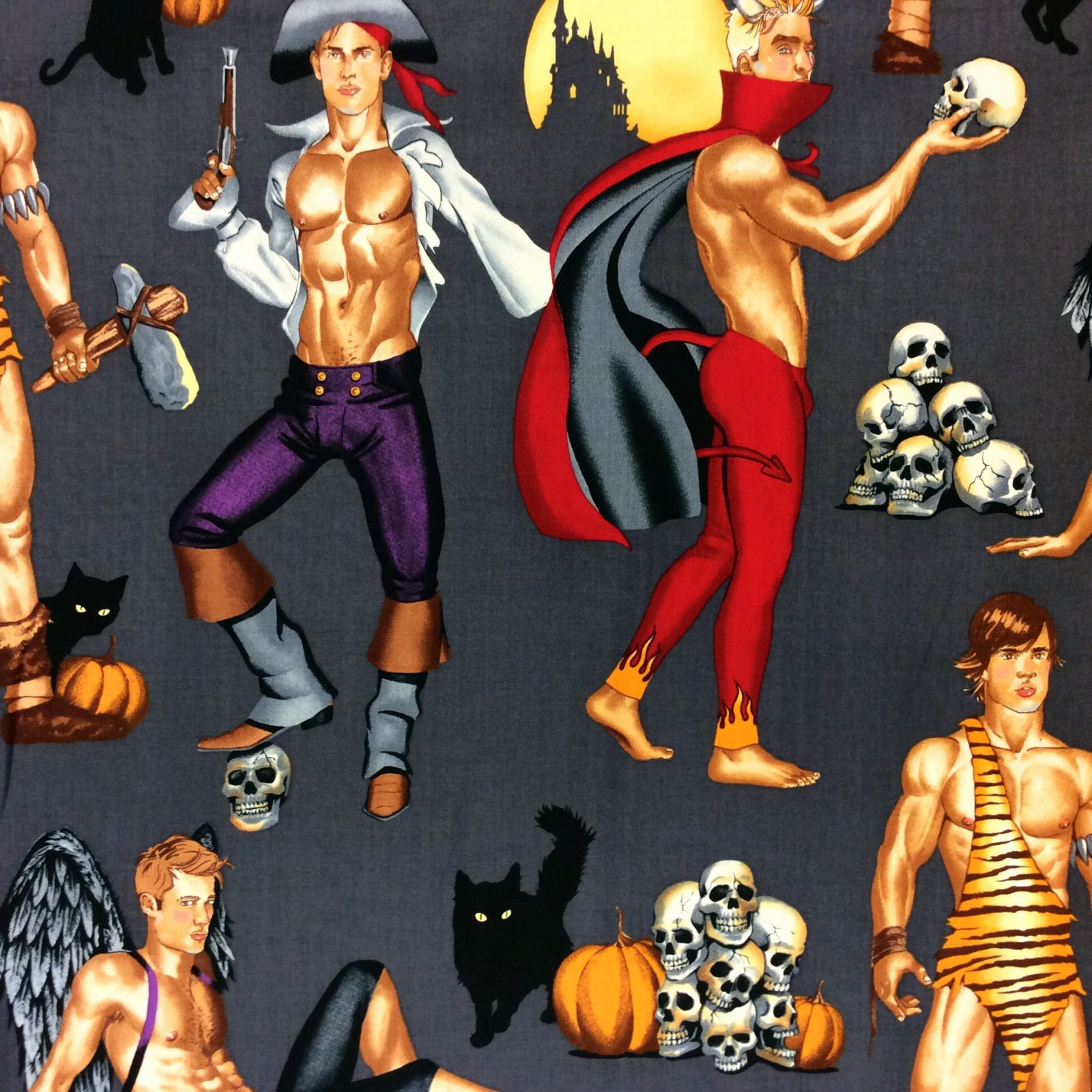 MD309 Halloween Sexy Pin Up Men Hunks Devil Pirate Cave Man Cotton Quilt Fabric