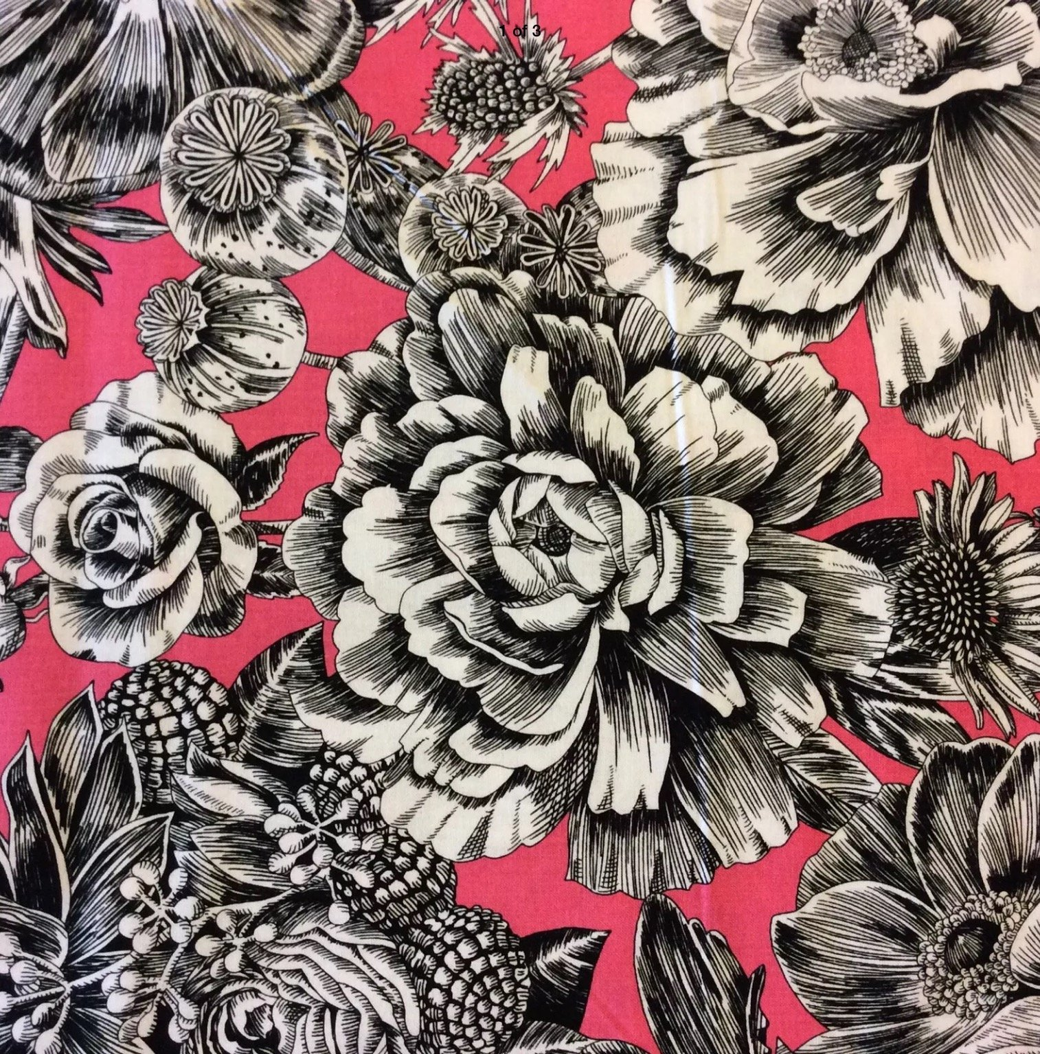 Toile Floral Pink Roses Toile Peonies Flowers  Black White Cotton Quilt Fabric  BL11