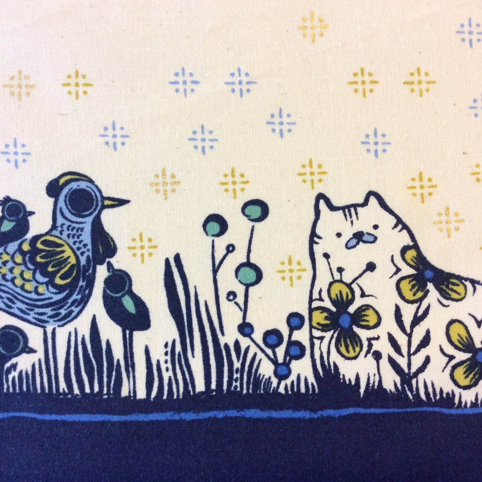 CTN71 Cotton + Steel Garden Border Cat Chicken Sarah Watts Portugal Cotton Quilt Fabric