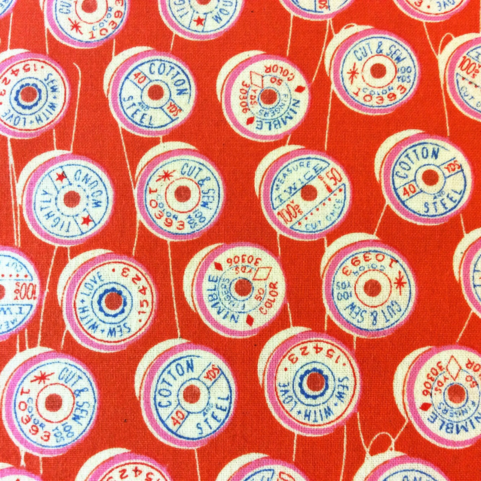 CTN74 Cotton + Steel Spool Thread Sewing Retro Vintage Sew Cotton Quilt Fabric