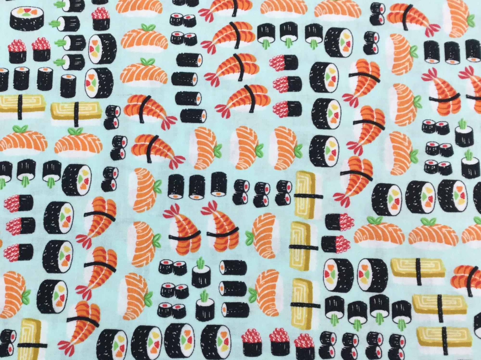 Asian Mini Sushi Rolls Japanese Retro Food Fish Chef Cotton Quilt Fabric TT95