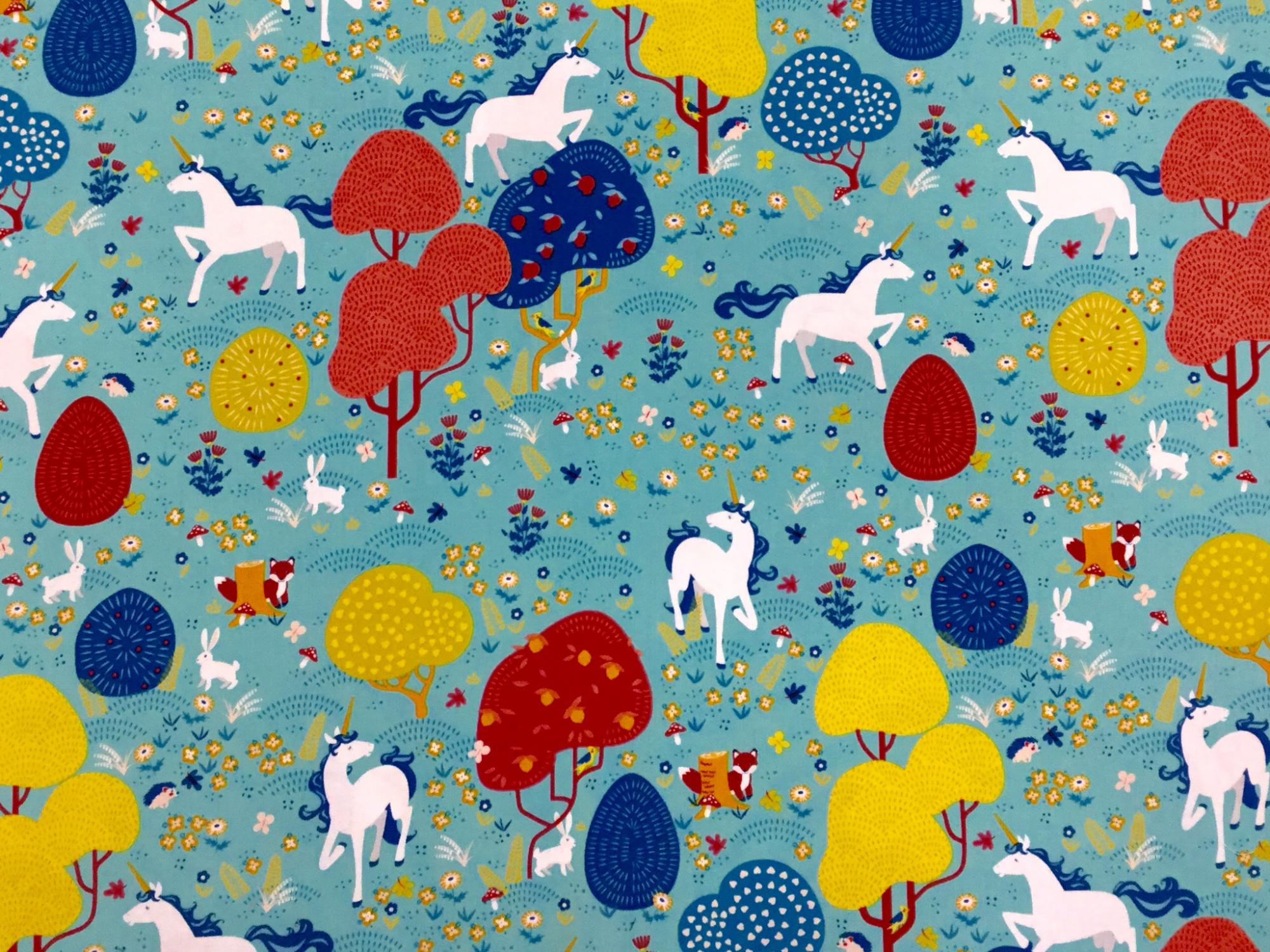 Unicorn Scandinavian Fox Bunny Rabbit Mushroom Meadow Cotton Quilt Fabric TT94