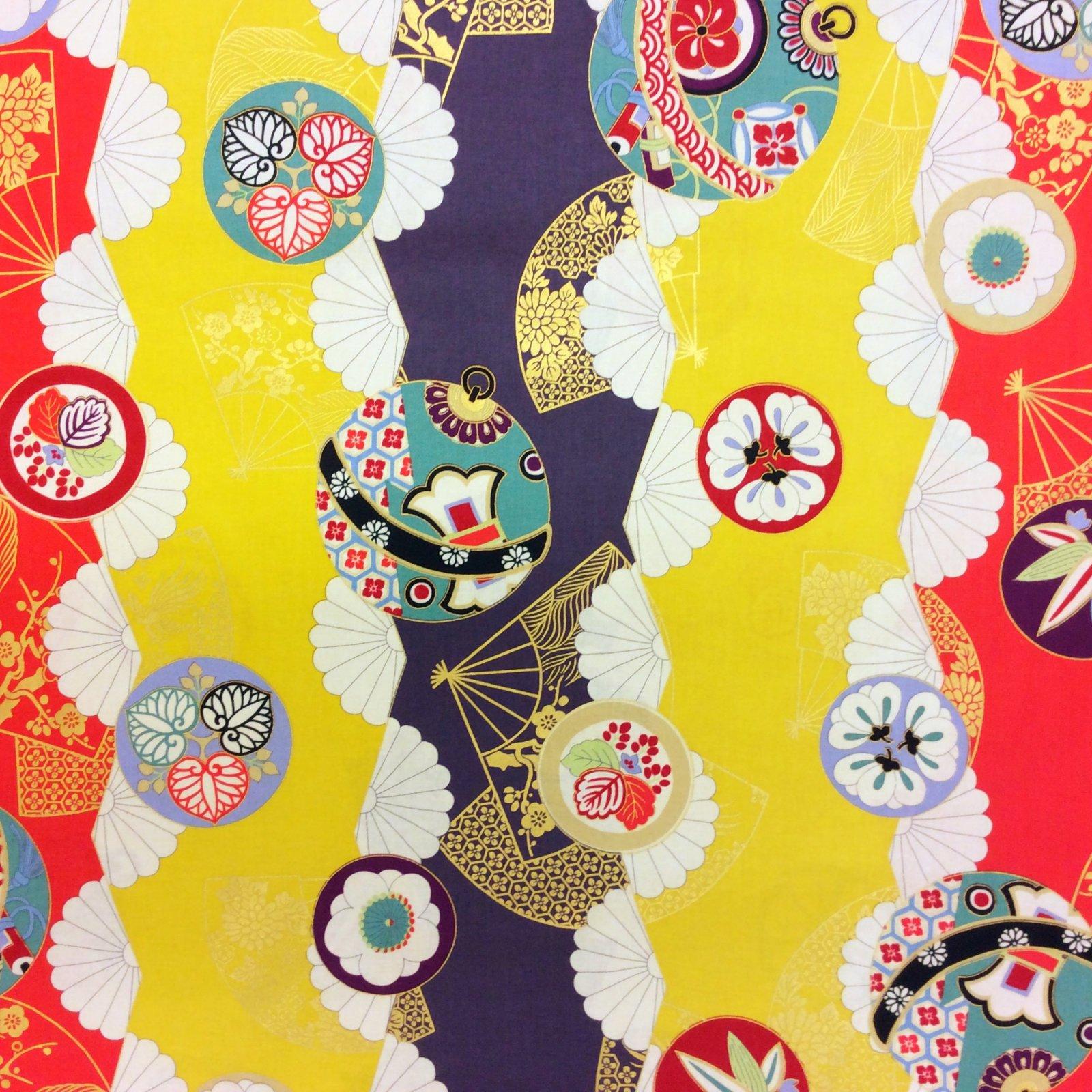 Kimono Print Asian Japanese QH18 Fan Floral Empire Palace Print ...