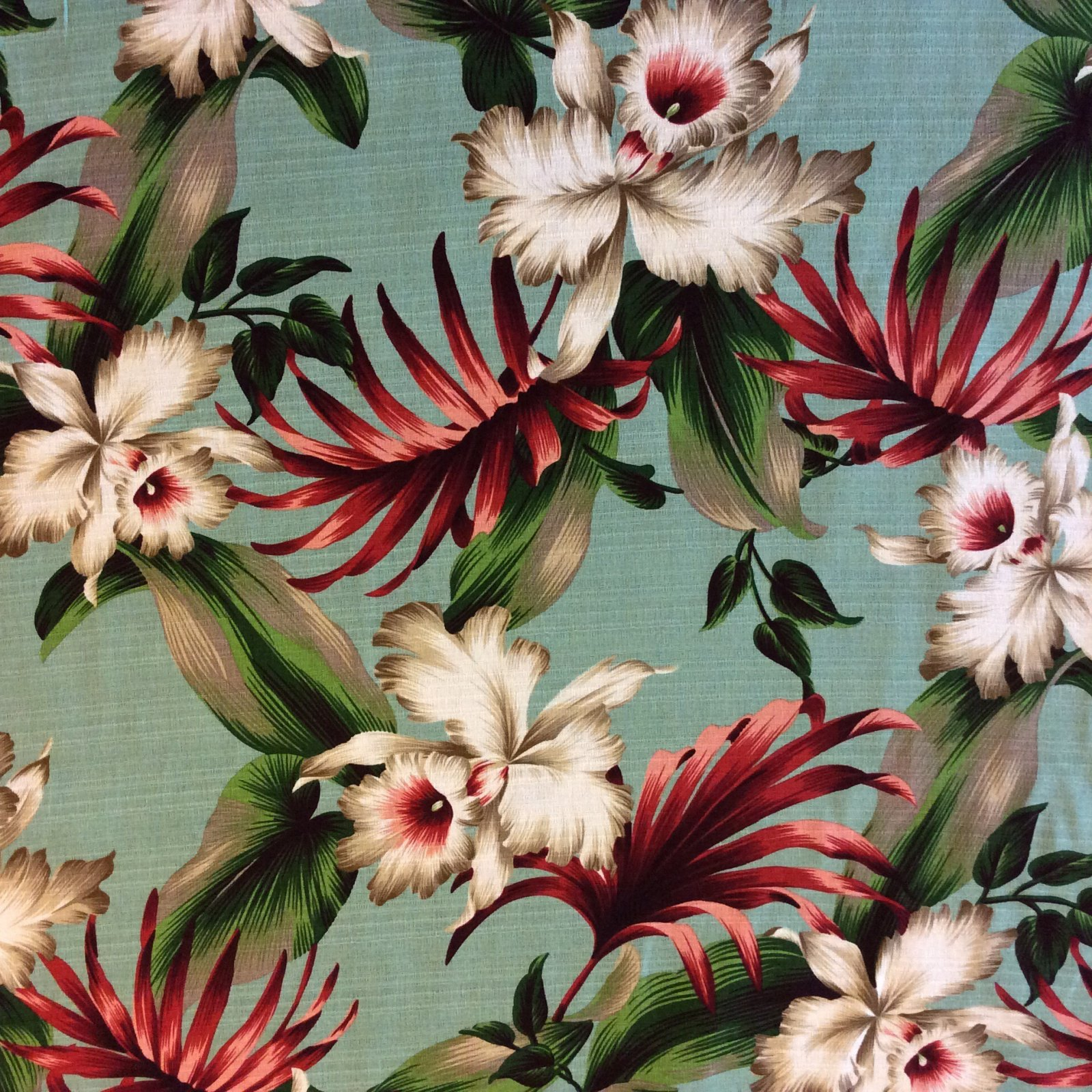 Atomic Barkcloth Style Palm Flower Tropical Tiki Bar Luau Cotton Dobby Fabric Surf Style Lanai HTP020