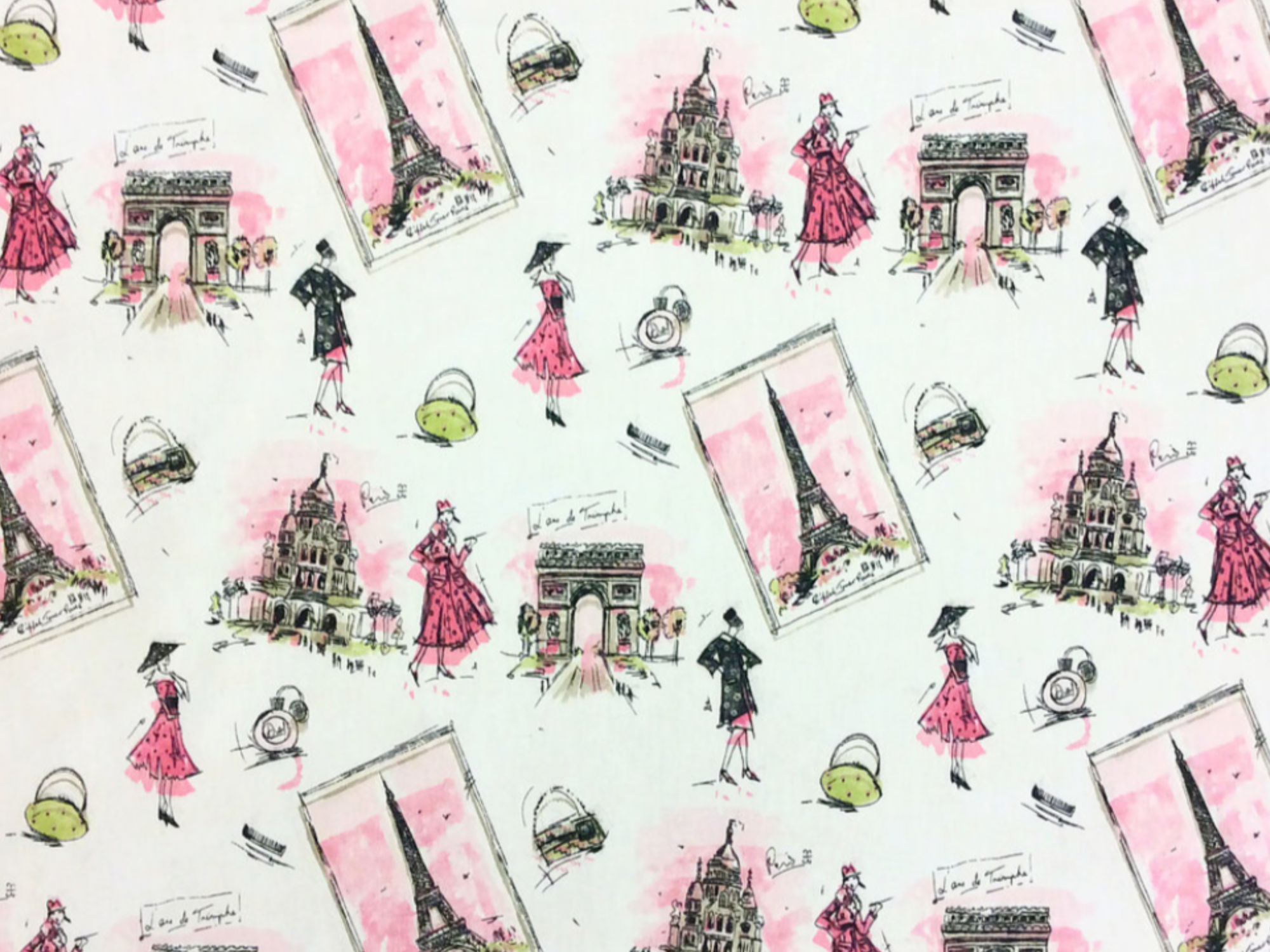 Paris France J'Adore Paris! Retro Fashion Ladies Poodles Eiffel Tower Arc d'Triomphe Drapery Weight Cotton Fabric LC10