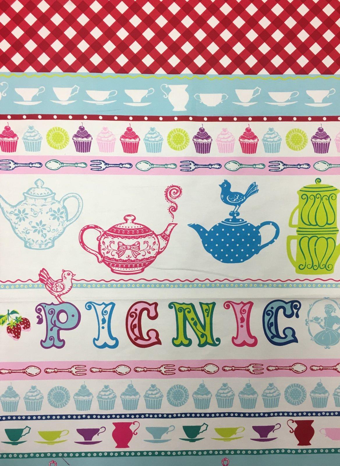 Echino Kokka Japanese EC06 Heavy Weight Retro Tea Party Picnic Kawaii Asian Cotton Fabric FF124