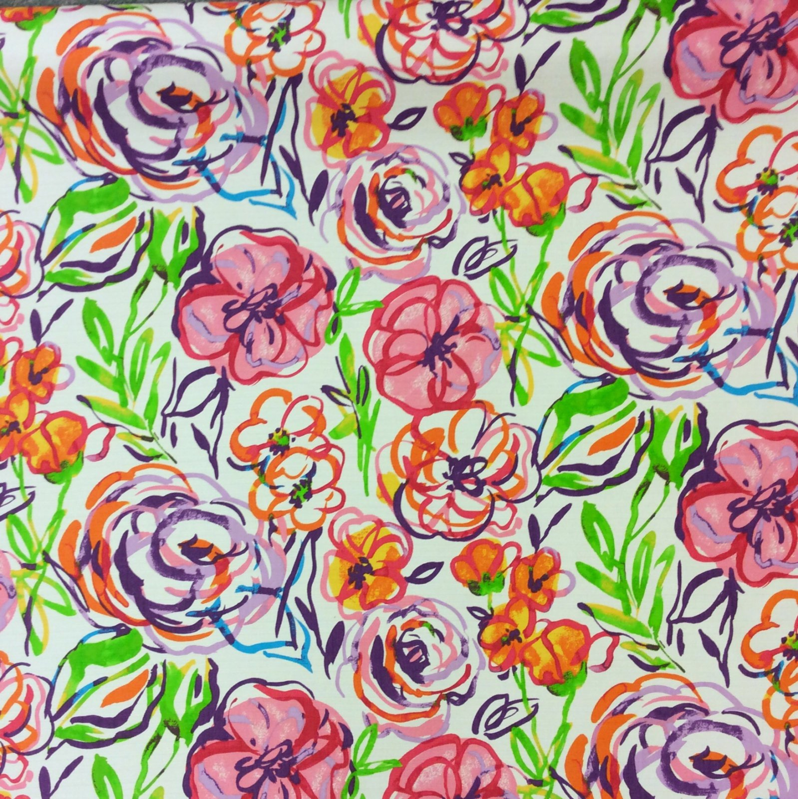 Brushstroke Floral Home Dec Cotton Drapery Fabric Light Upholstery Fabric NL89