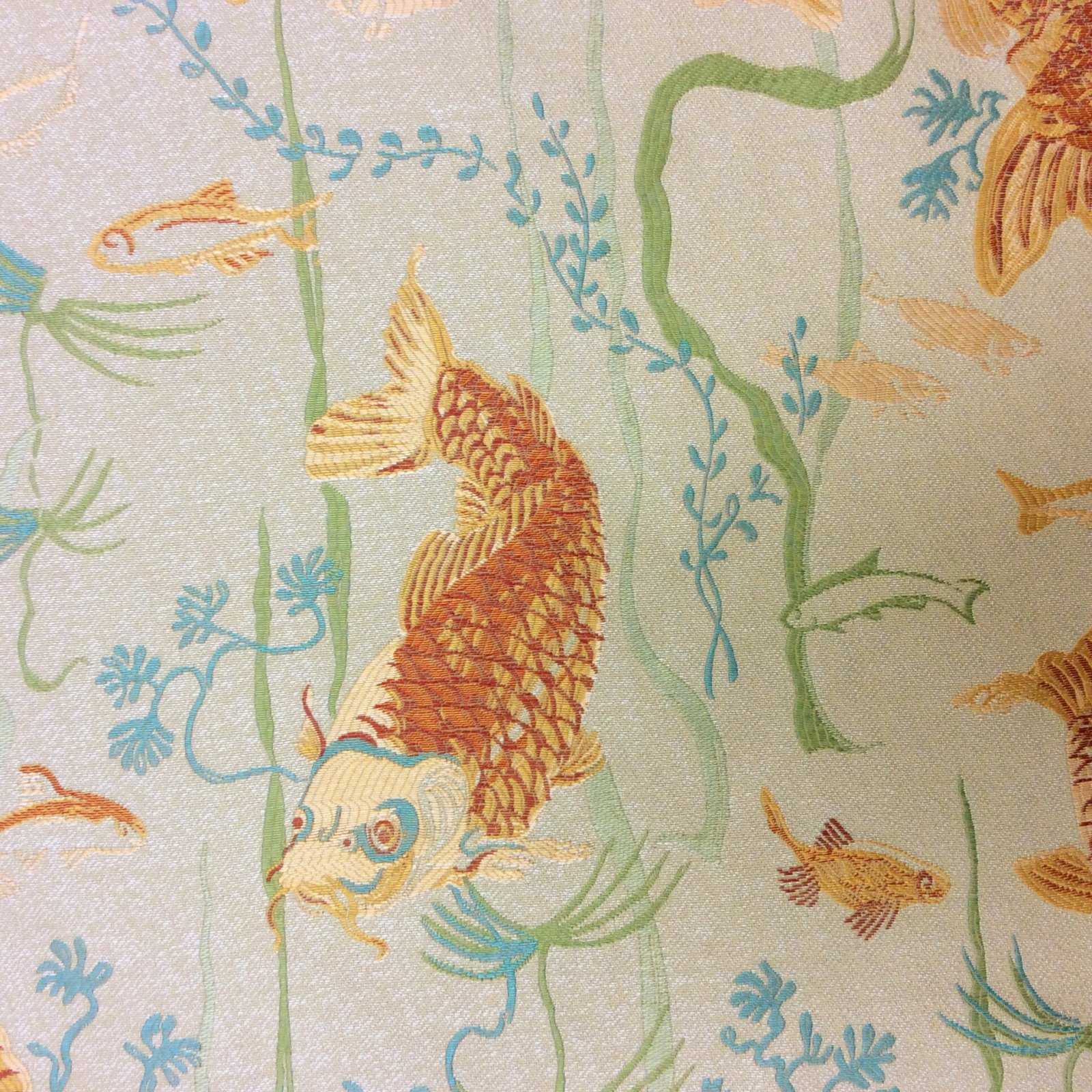 NEW! Koi Fish Sea Grass Asian Japanese Orange Koi Fishes Upholstery Home Dec LHD125-A