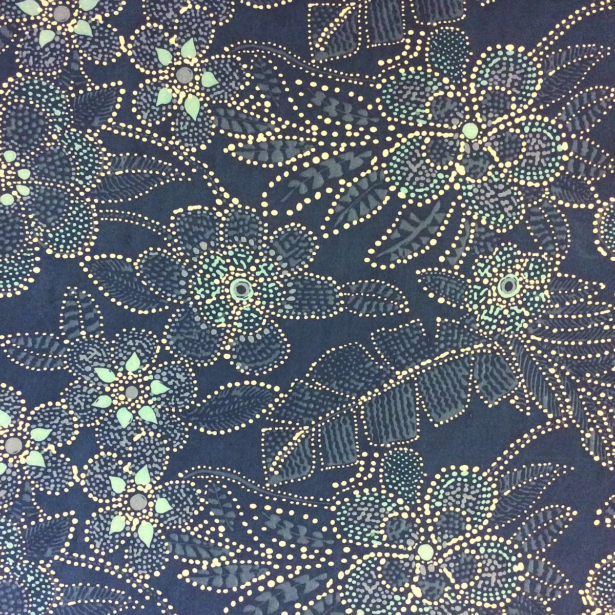 Batik Silk Large Scale Blue White Studded Flowers Silk Fabric Drapery Fabric Taffeta Weave WB129