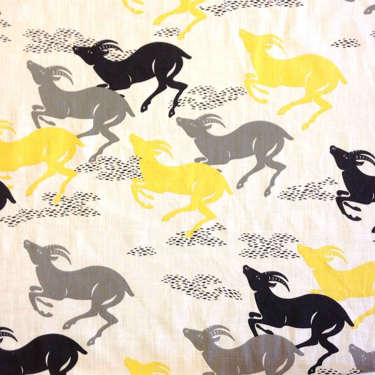 Dwell Studio Antelope Animal Modern White Grey Black Yellow Safari Heavy Cotton Fabric  HDA044