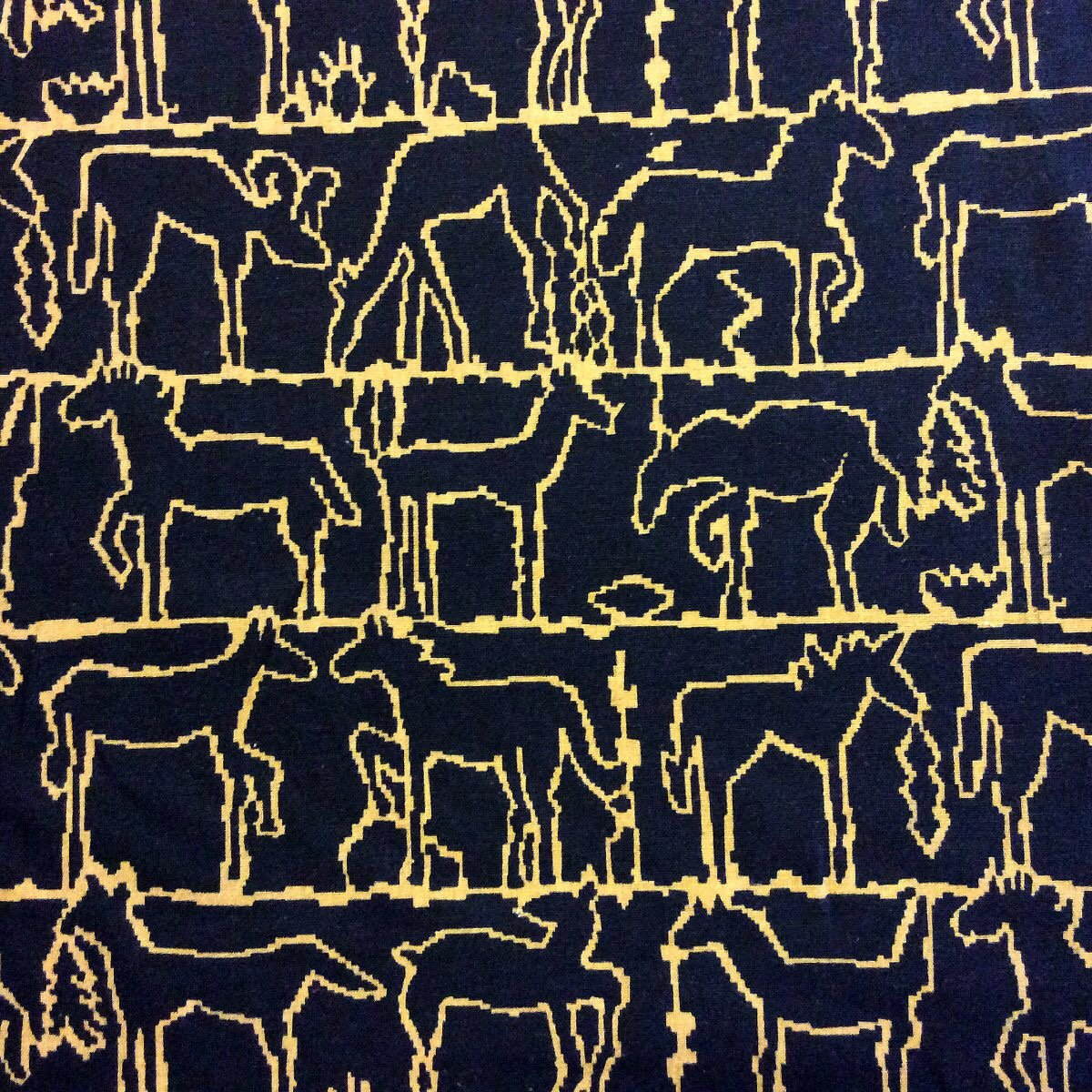 Brunschwig & Fils Paloma Picasso Horse Equus Classic Print Linen Texture Black and Brown Rams Deer Linen Cotton Fabric BF23