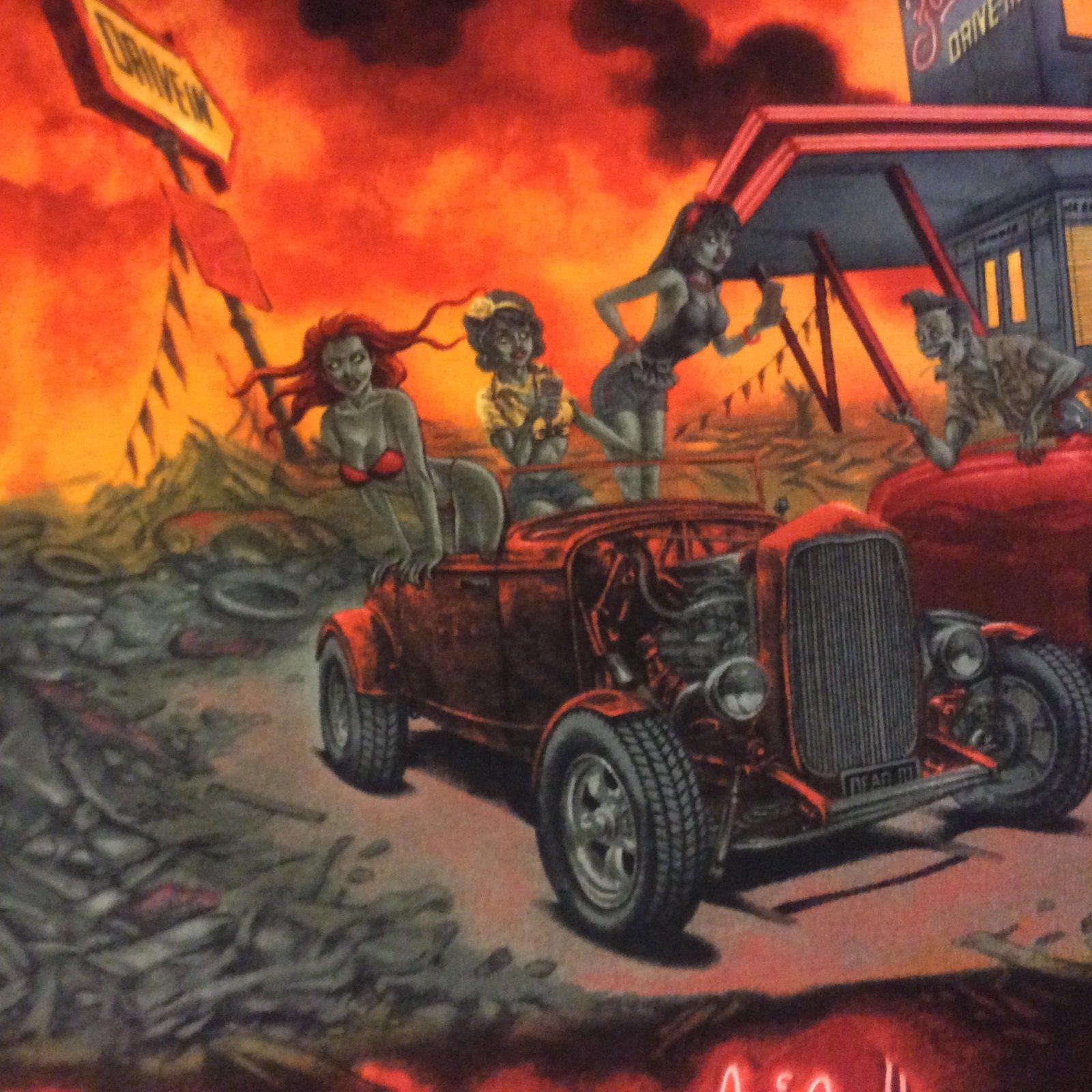 Apocalypse Diner Alexander Henry Zombies Hot Rods Cotton Quilt Fabric AH181