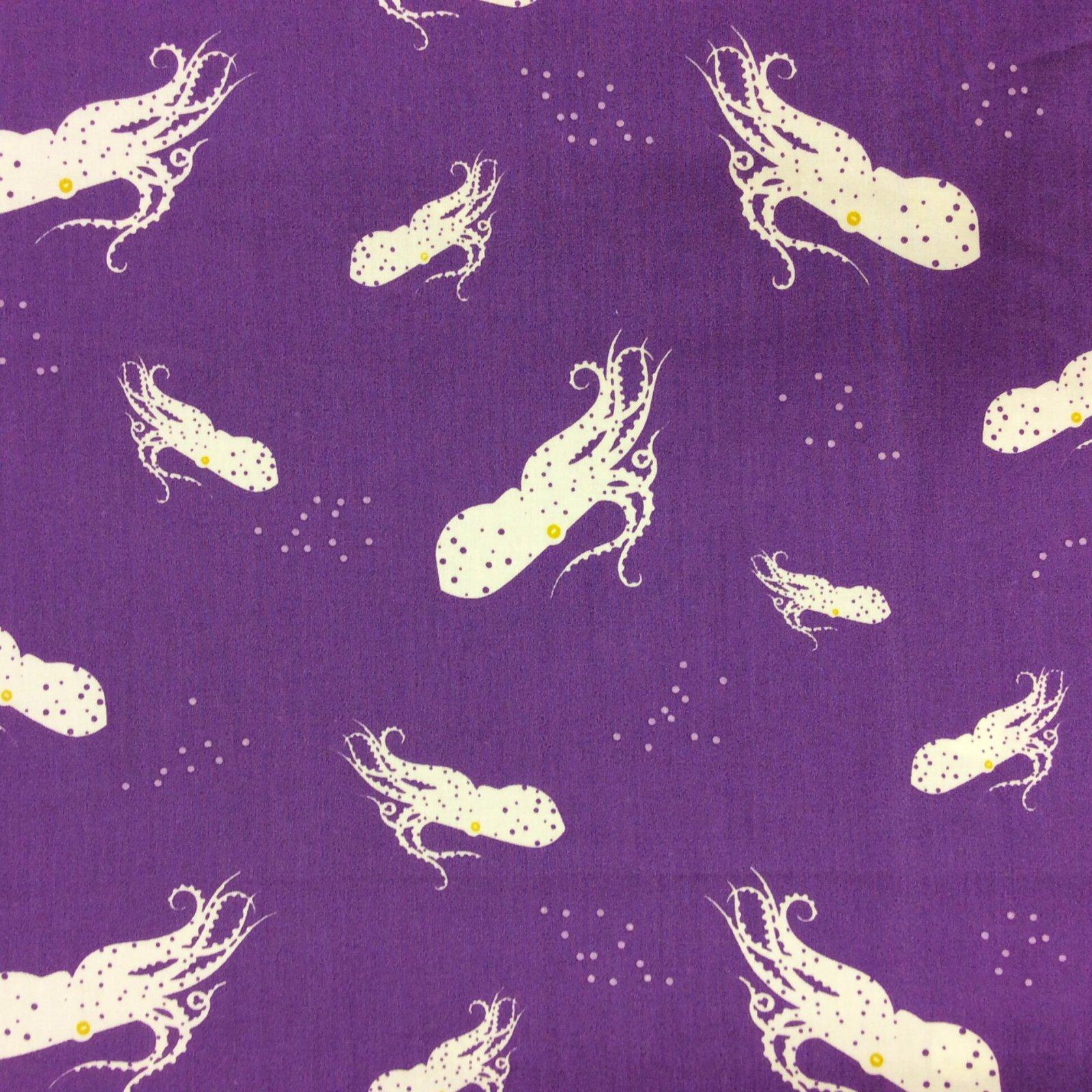 Charley Harper Octo School Purple Octopus Water Ocean Squid ... : organic cotton quilt fabric - Adamdwight.com