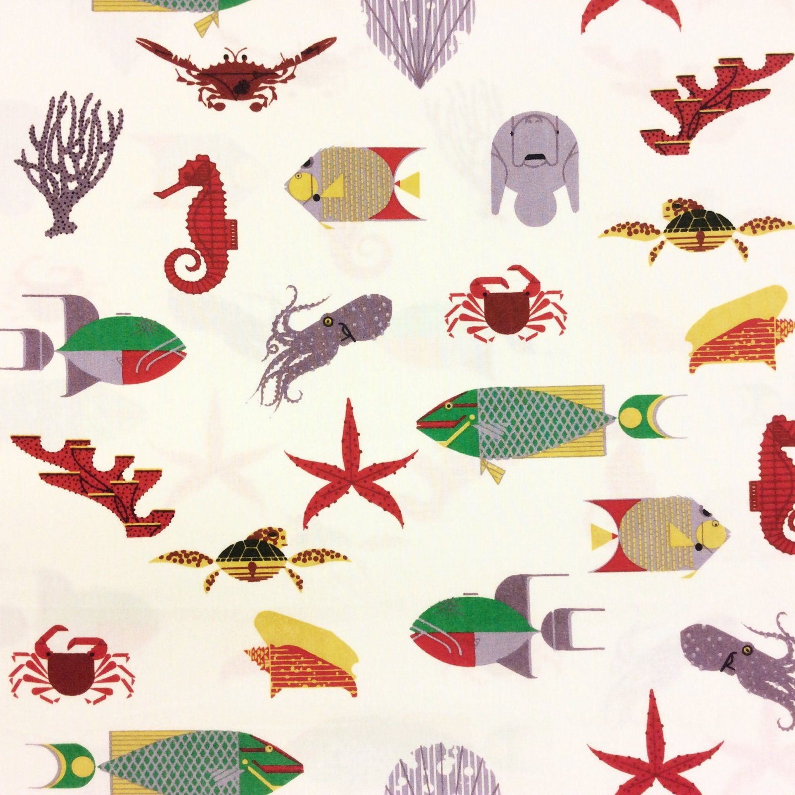 Charley Harper Sea Life Seahorse Fish Coral Turtle Squid Crab Manatee Organic Cotton Fabric CHB45