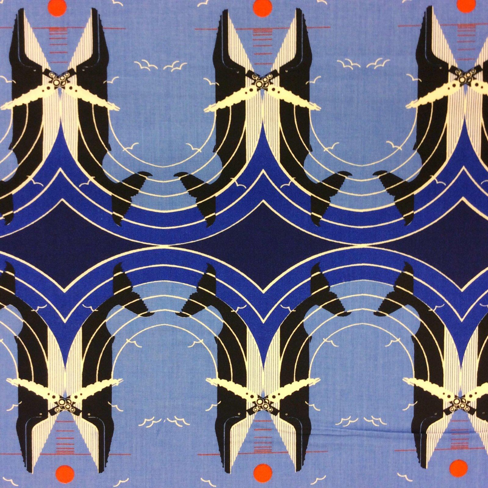 Charley Harper Whale Love on the Richter Scale Fibonacci Arc Ocean Water Sunset Organic Cotton Fabric CHB40