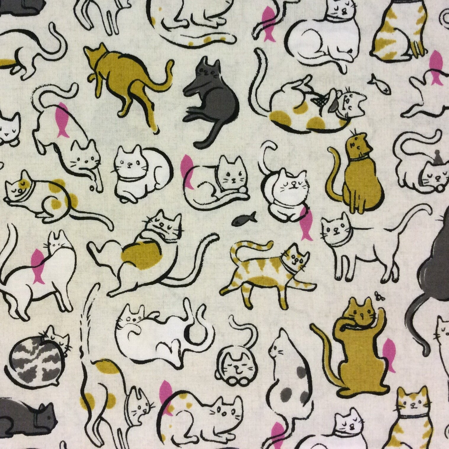 Cotton + Steel Playing Kitties Cats Kittens Cat Feline Fish Cotton Quilt Fabric CTN40