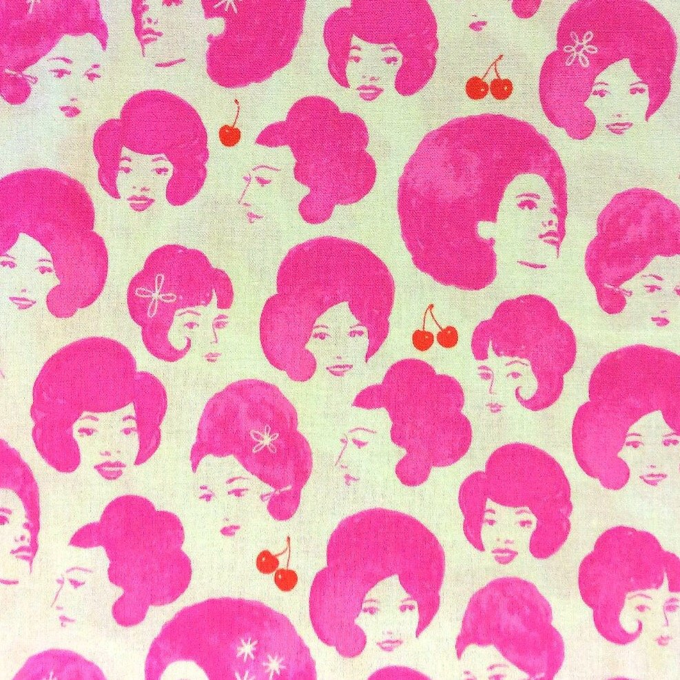 Cotton + Steel Retro Pink Divas Bouffant Beehive Hairstyle Hair Cotton Fabric  CTN36