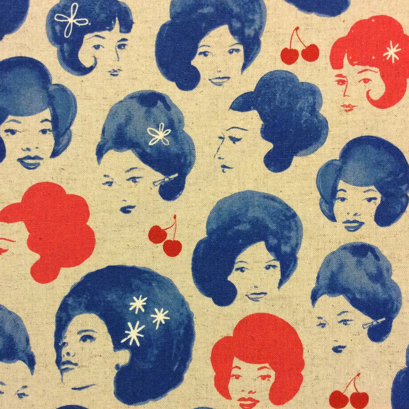 Cotton + Steel Retro Divas Beehive Bouffant Cherry Cherries Melody Miller Canvas  Cotton Fabric CTN35