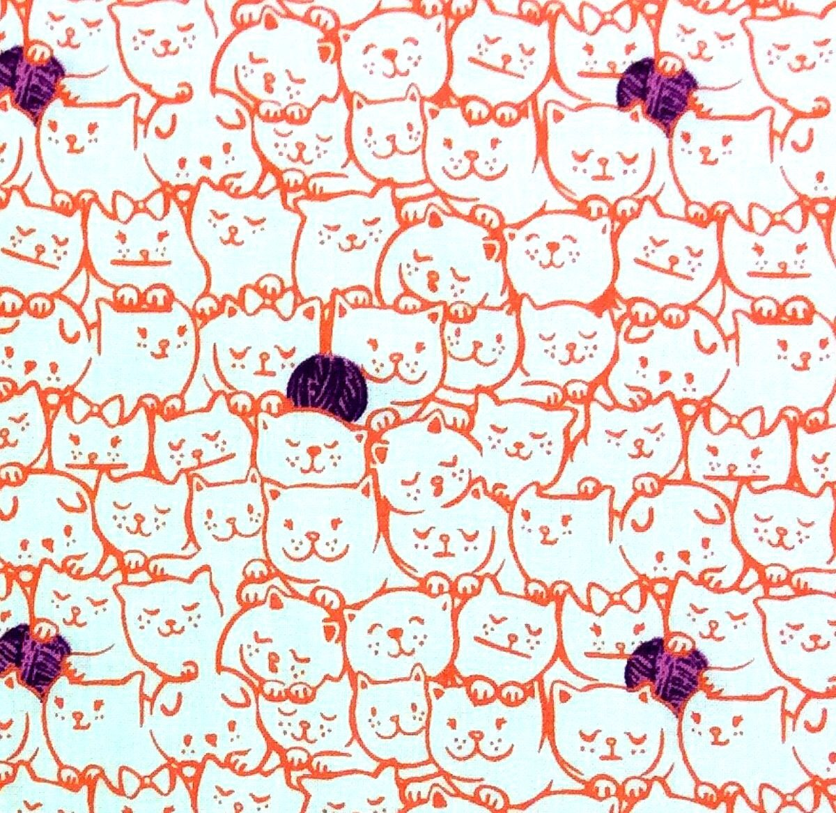 Cotton + Steel Nestled In Cat Kitten Yarn Feline Cats Kittens Cotton Quilt Fabric CTN42