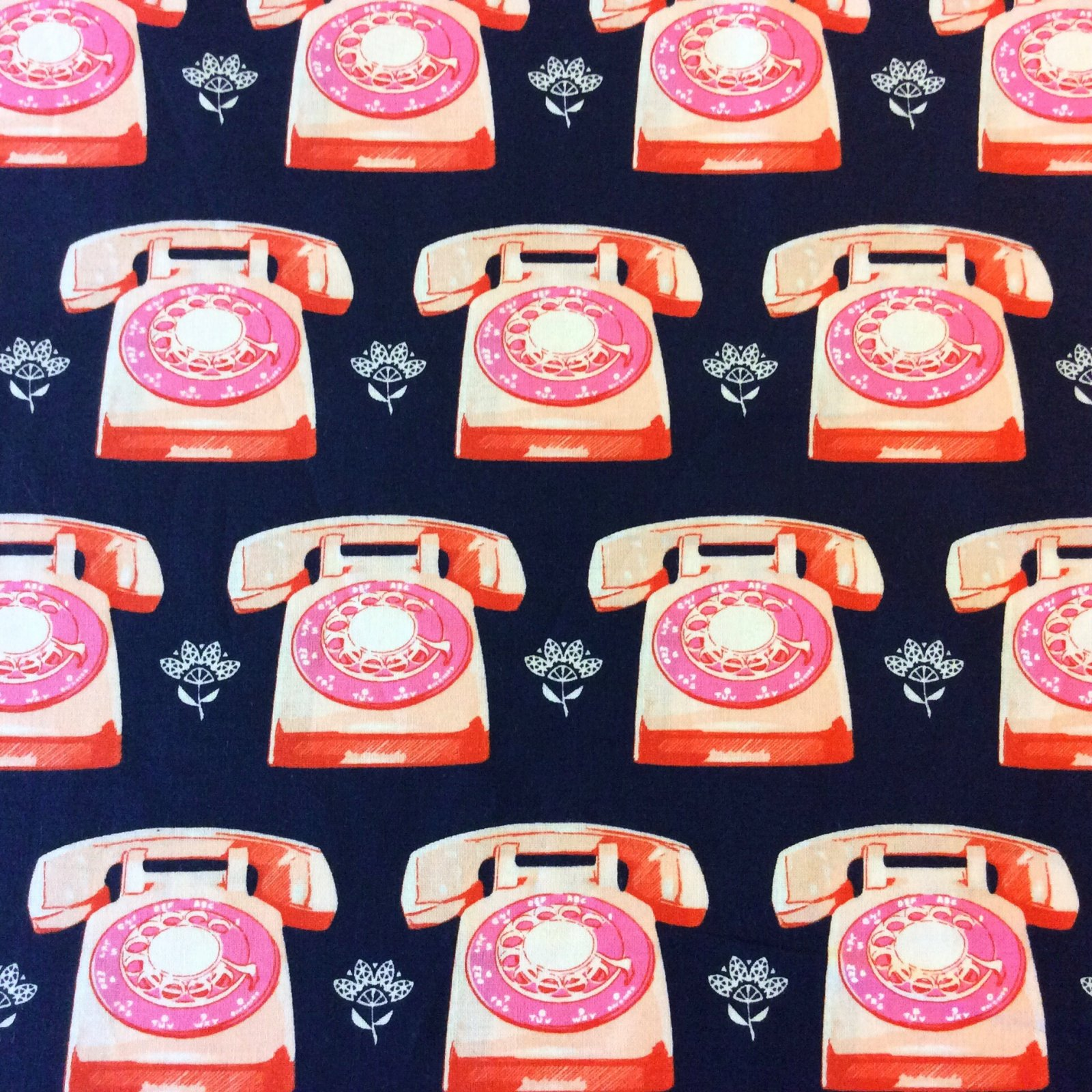 COTTON + STEEL Retro Phone Telephone Operator Call Cotton Fabric CTN73