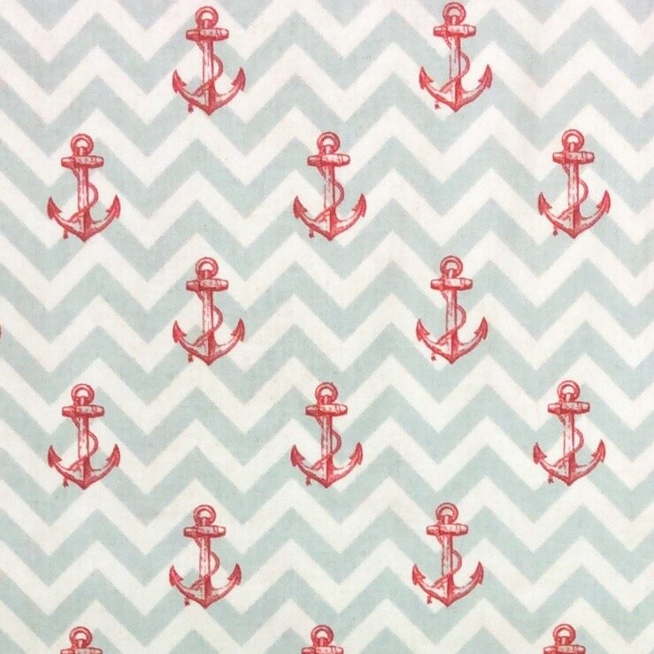 Whaler Folk Art Anchor Sea Tales Sailor Fisherman Cotton Quilt Fabric Wi60