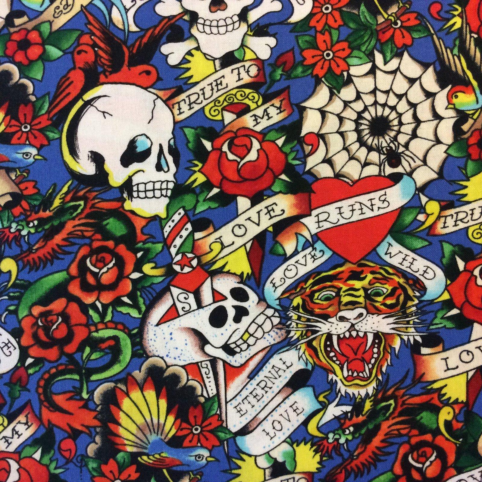Ed Hardy True Love Tattoo Asian Ink Cotton Quilt Fabric Qt44