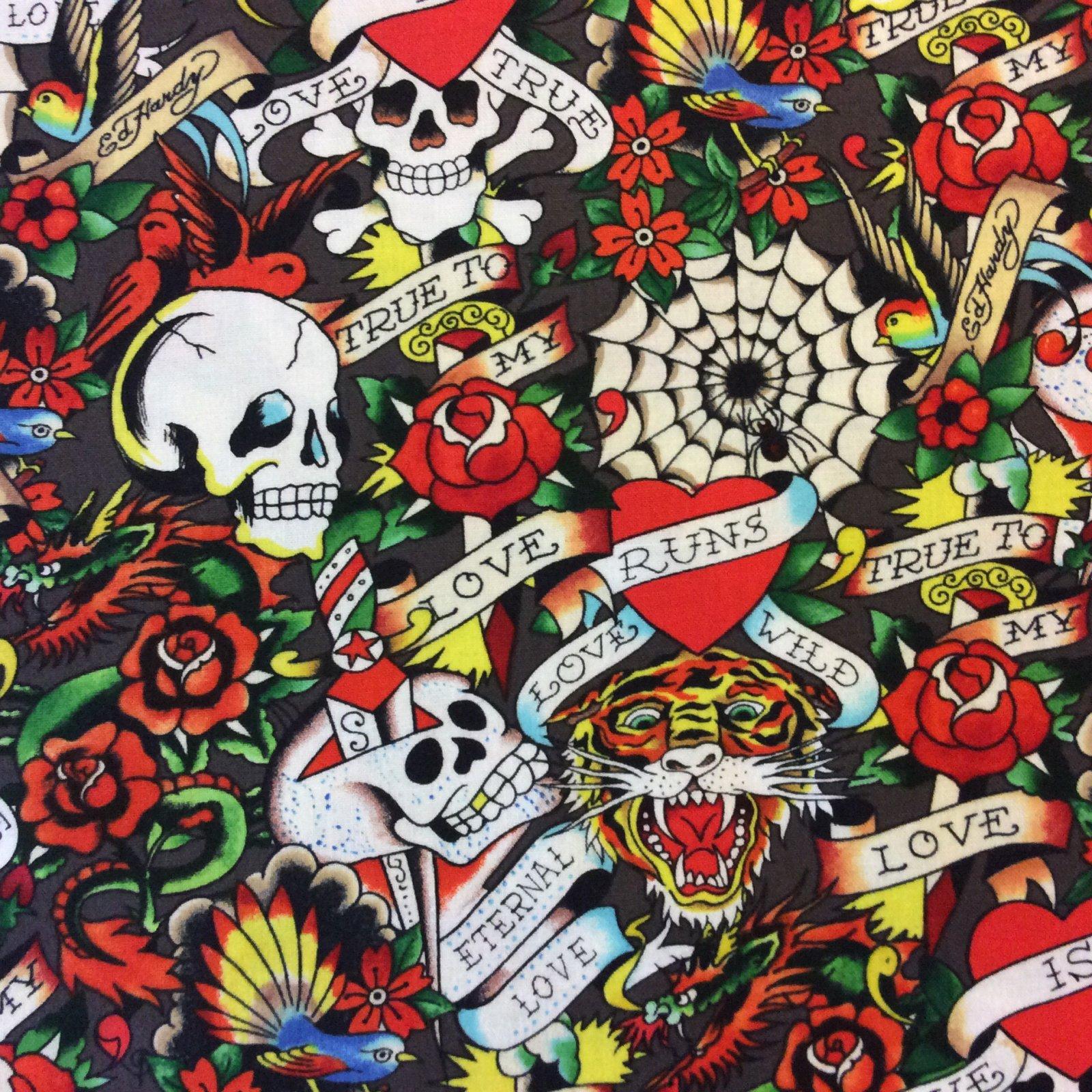 Ed Hardy True Love Skulls Tattoos Biker Tough Tiger Cotton Quilt Fabric QT45