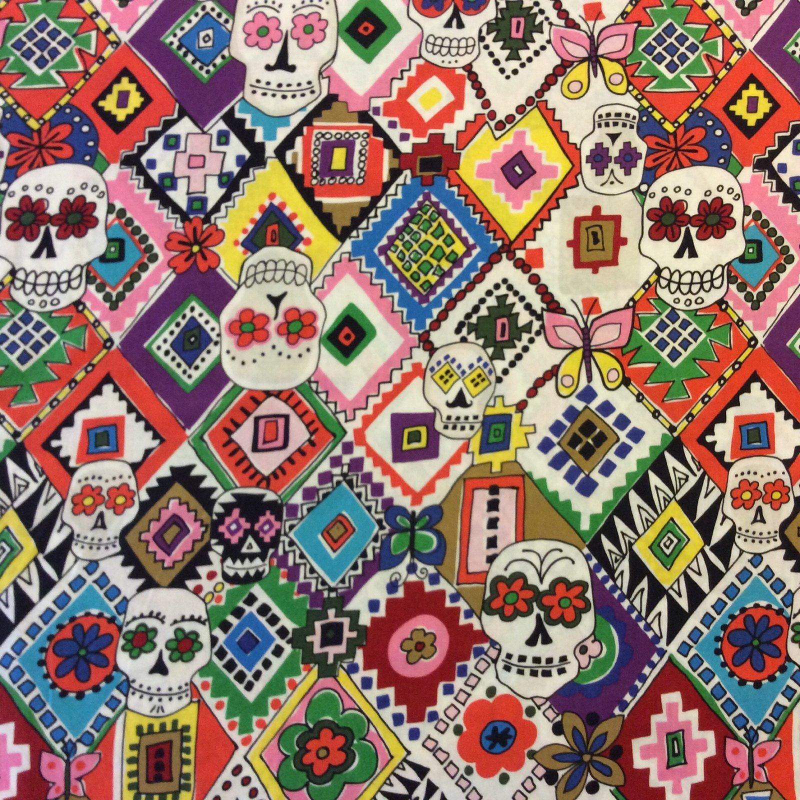 Dia de los Muertos Day of the Dead Aztec Mexico Sugar Skulls Cotton Quilt Fabric AH25