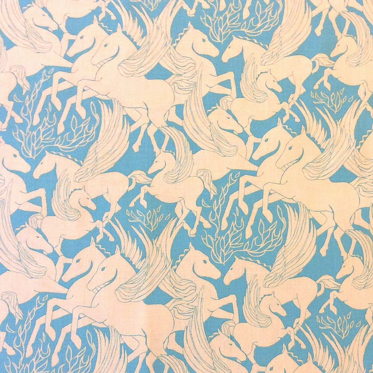 Fibs and Fables Athena Pegasus Horse Mythology Cotton Quilt Fabric WE145