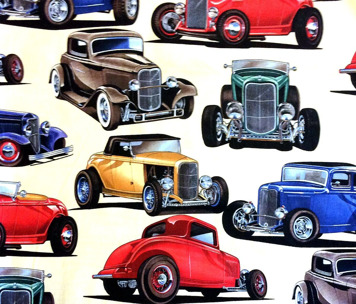 Hot Rods Cream Background Retro Custom Street Rods Cars Alexander Henry Cotton Quilt Fabric AH162